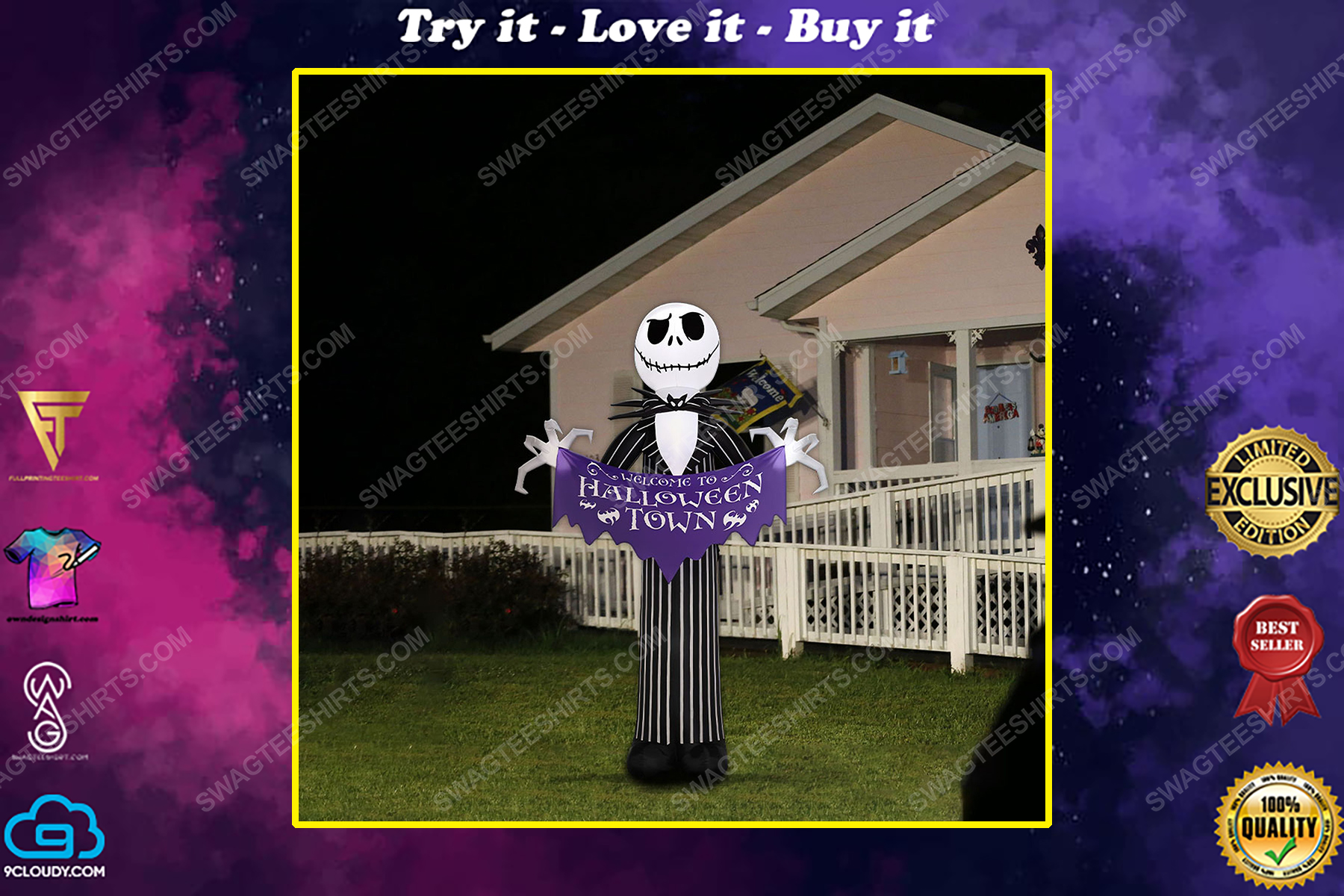Jack skellington welcome to halloween town yard sign