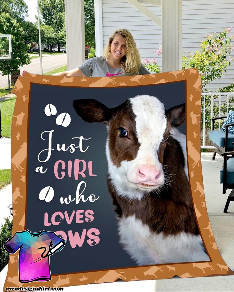 Just girl who loves cows full printing blanket