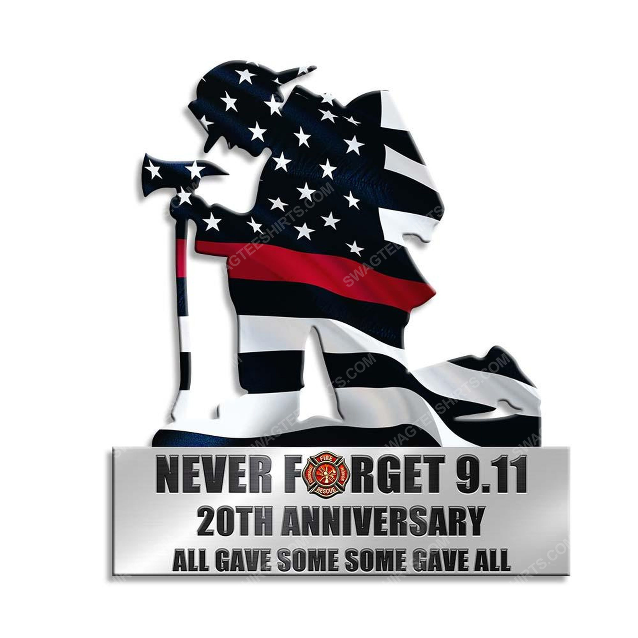 Kneeling firefighter never forget 9 11 20th anniversary yard sign 2(1)
