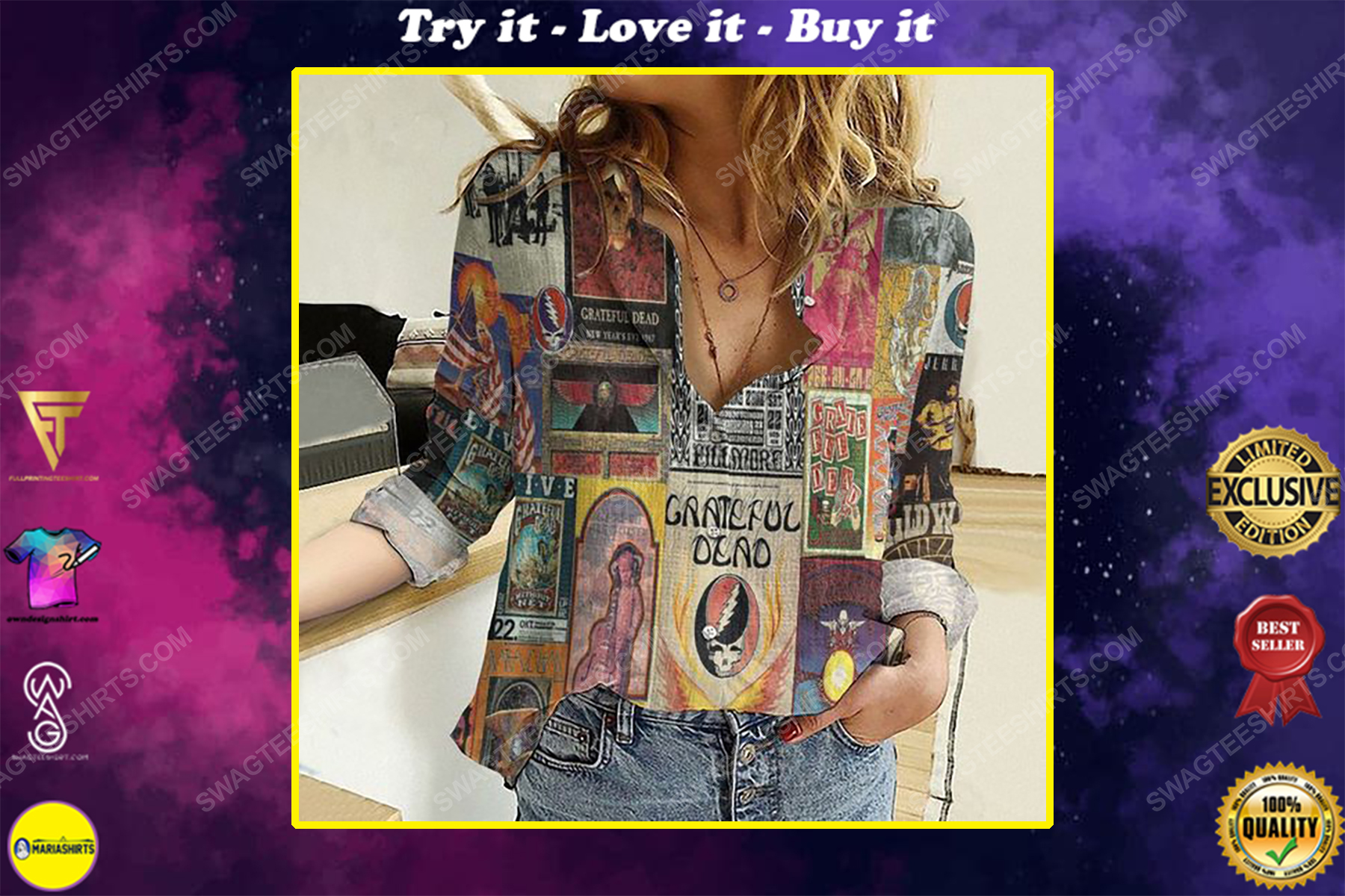 Grateful dead album covers fully printed poly cotton casual shirt