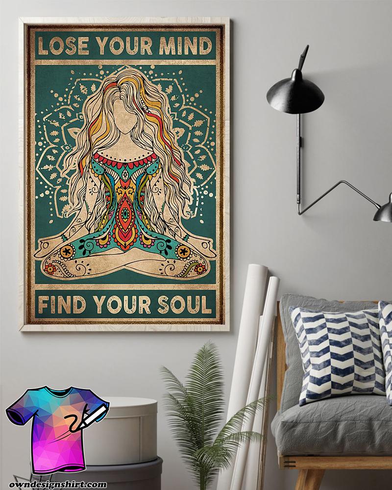 Meditation girl lose your mind find your soul yoga poster