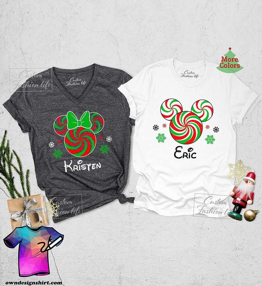 Minnie and mickey candy cane christmas shirt
