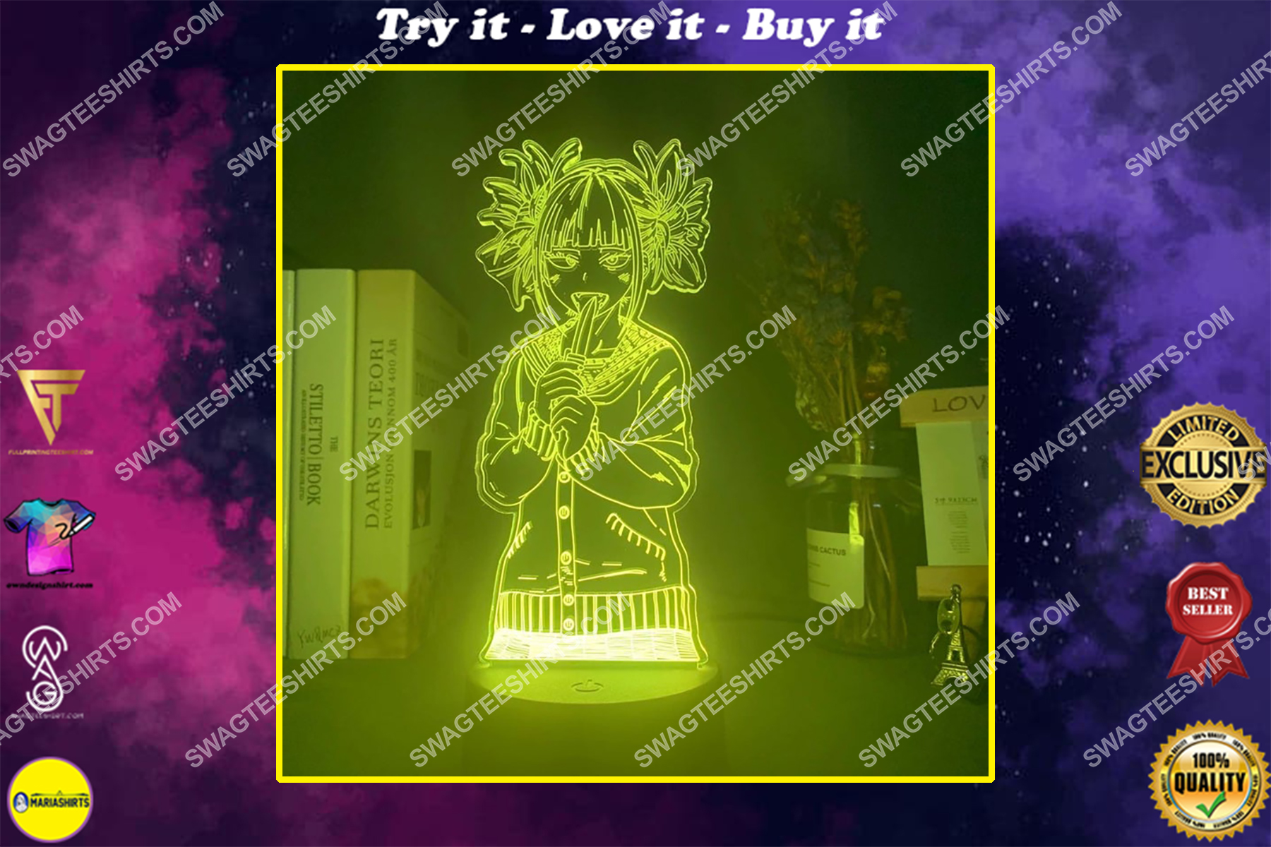 My hero academia toga himiko figure 3d night light led