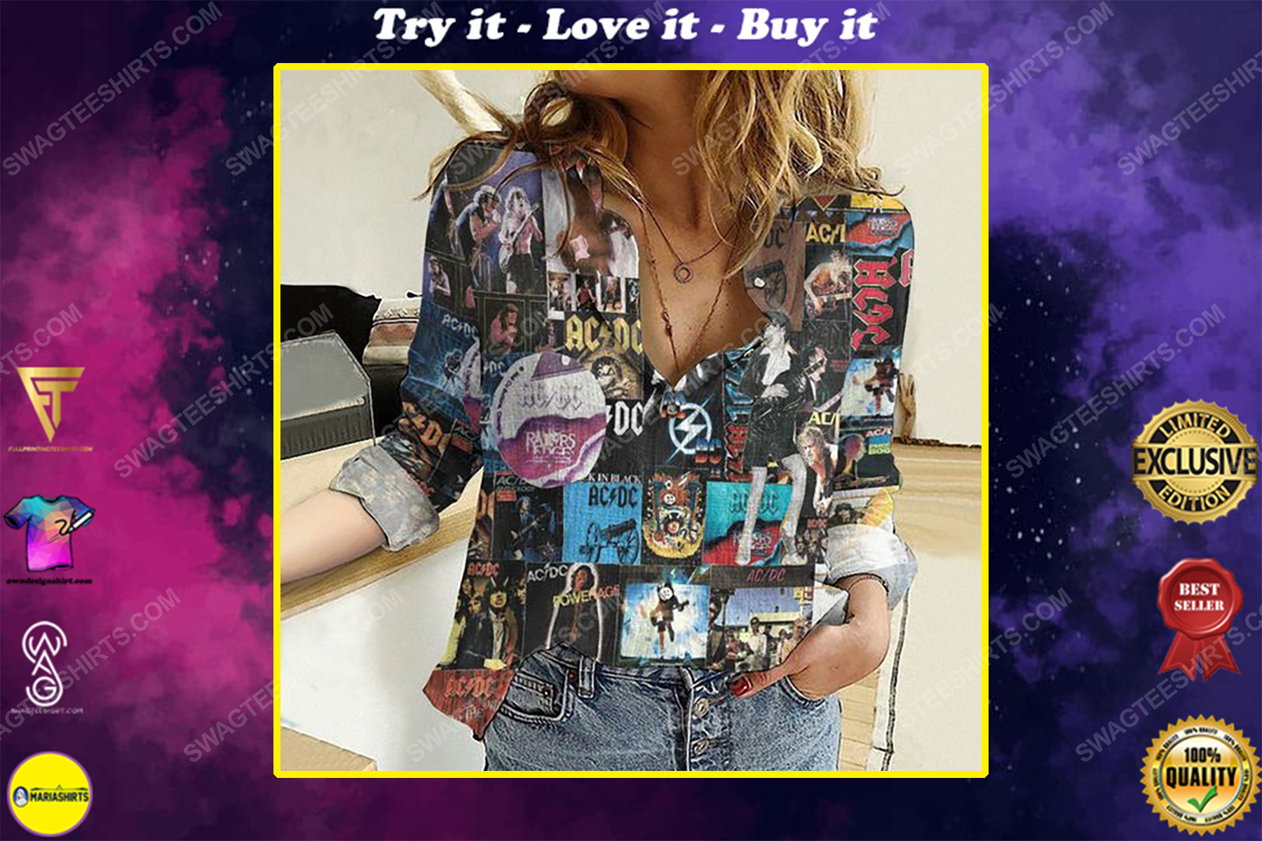 AC DC cover album fully printed poly cotton casual shirt