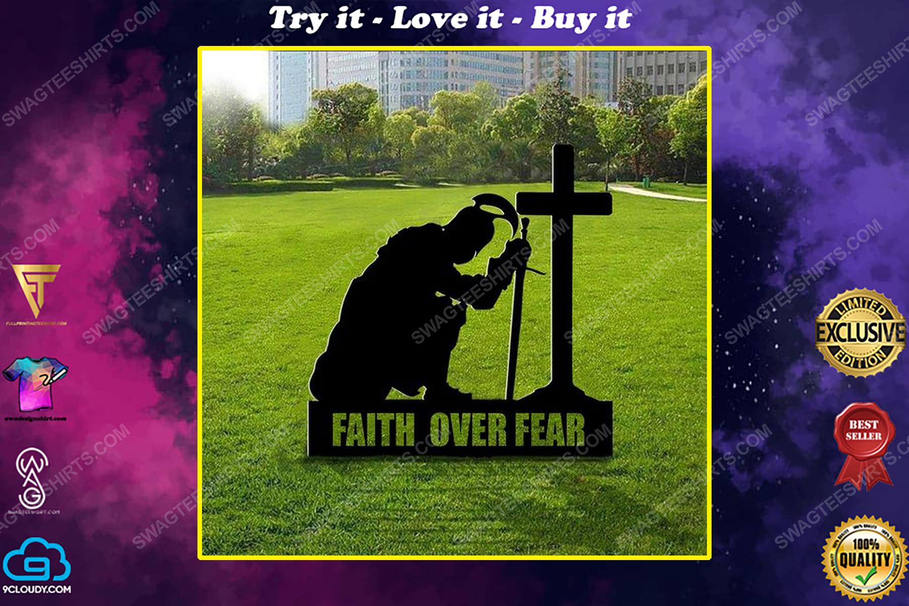 Patriotic christian spartan kneeling cross faith over fear yard sign