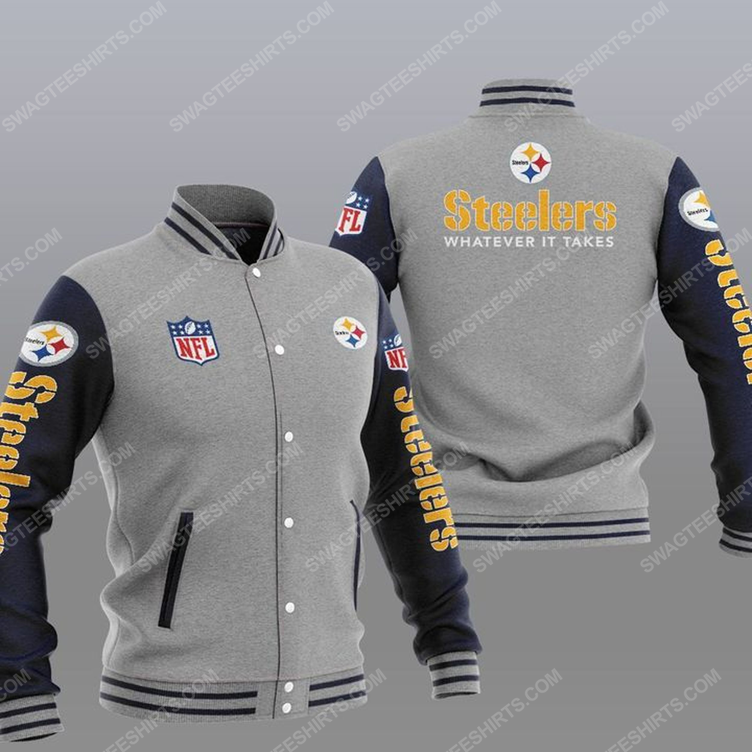 Pittsburgh steelers whatever it takes all over print baseball jacket - gray 1