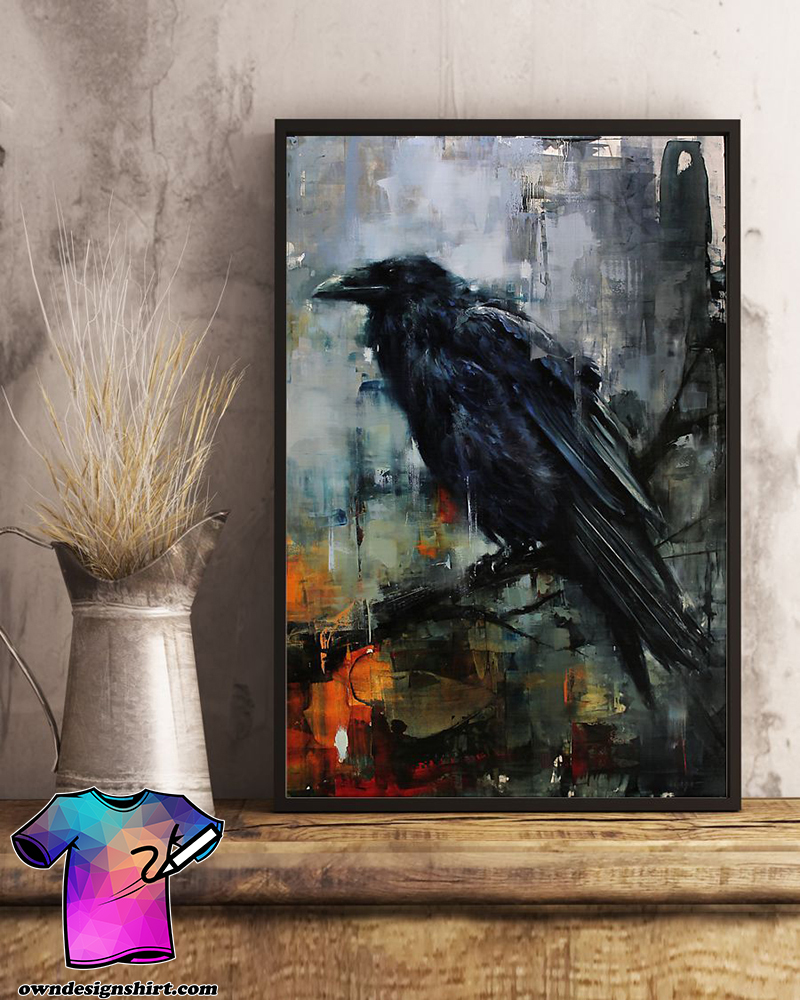 Raven watercolor wall art poster