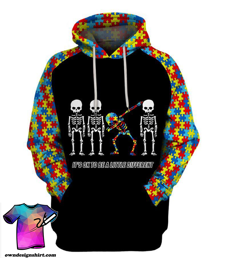 Skull it's ok to be different autism awareness full printing shirt