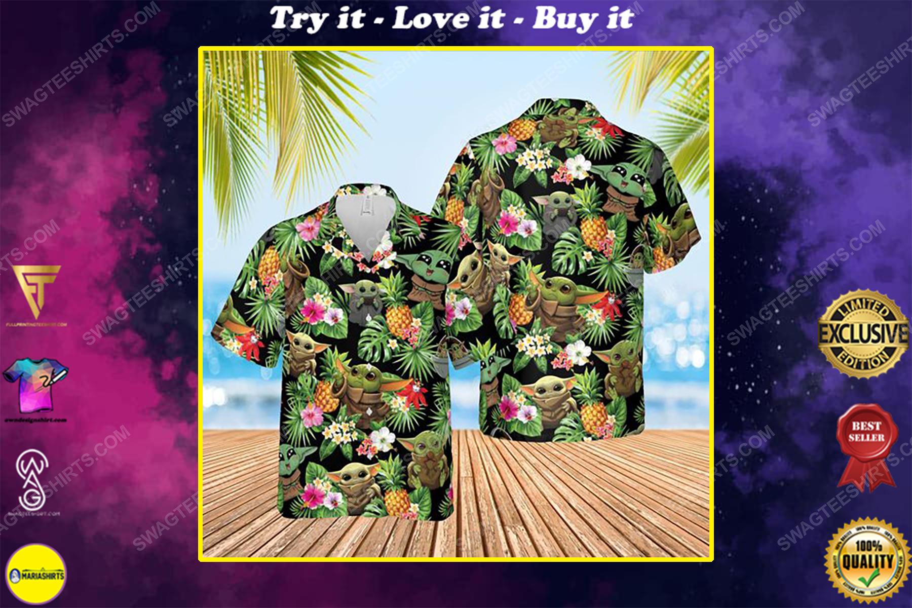 Star wars baby yoda the mandalorian summer vacation hawaiian shirt