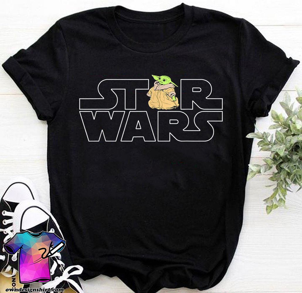 Star wars logo and the child from the mandalorian shirt