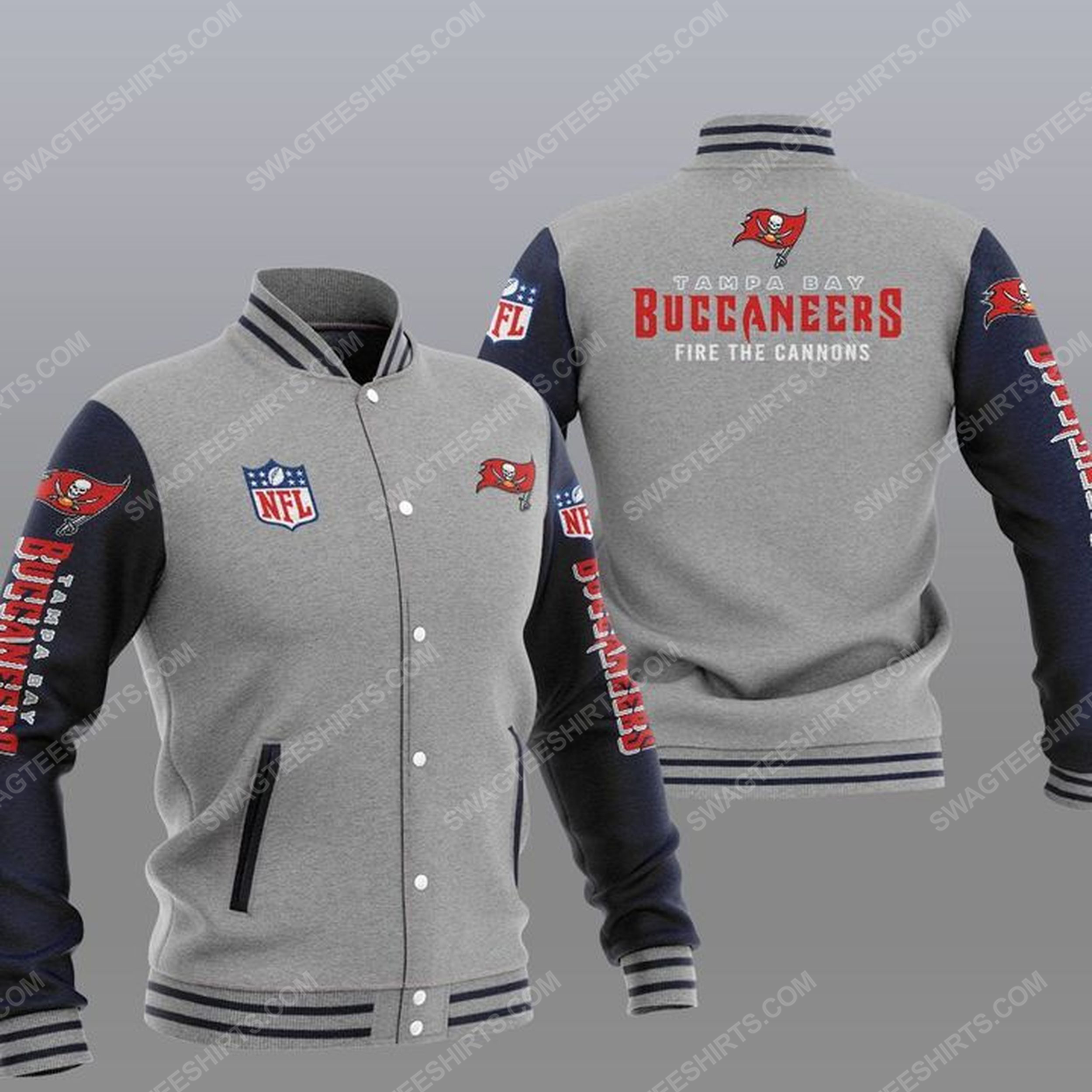 Tampa bay buccaneers fire the cannons all over print baseball jacket - gray 1