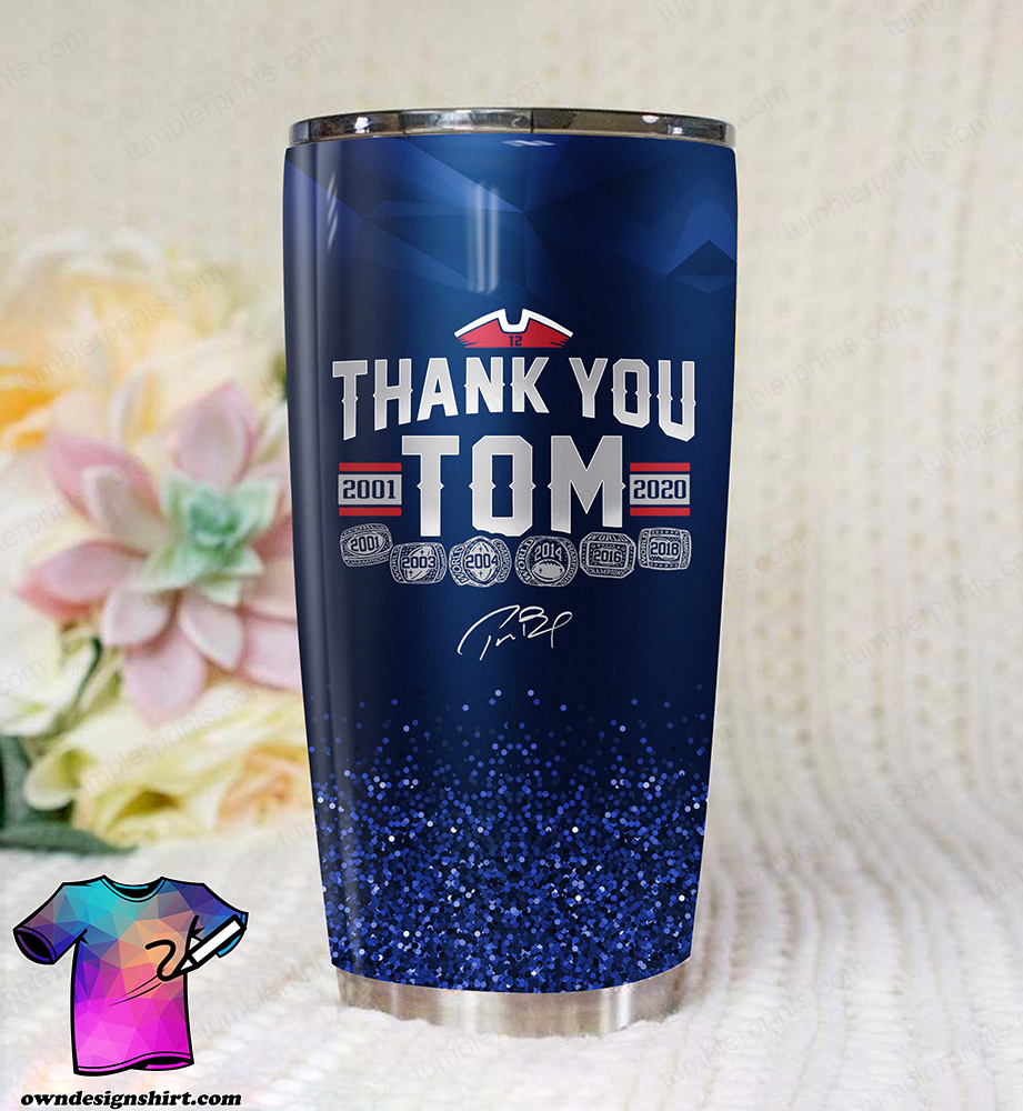 Thank you tom brady all over printed tumbler