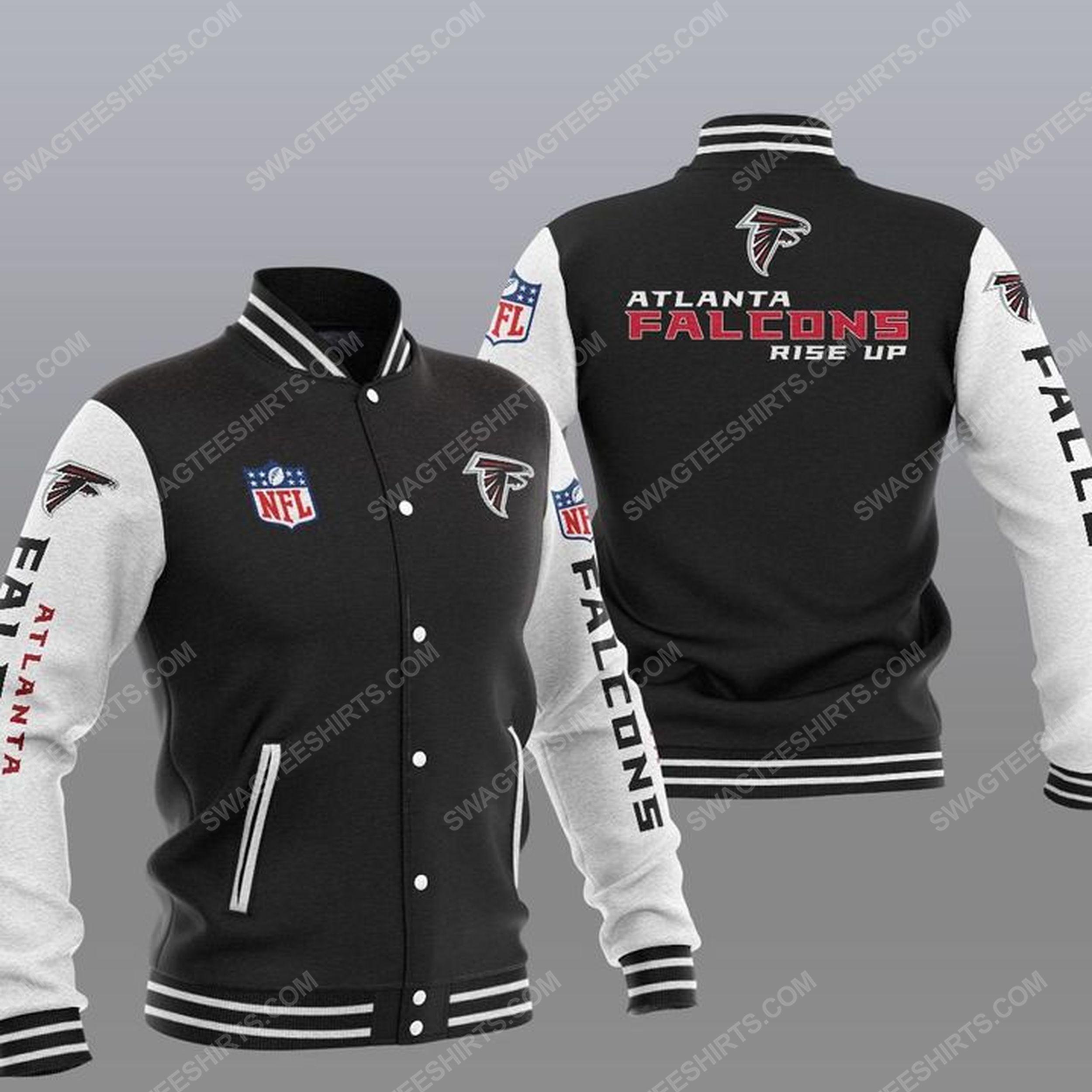 The atlanta falcons rise up all over print baseball jacket - black 1