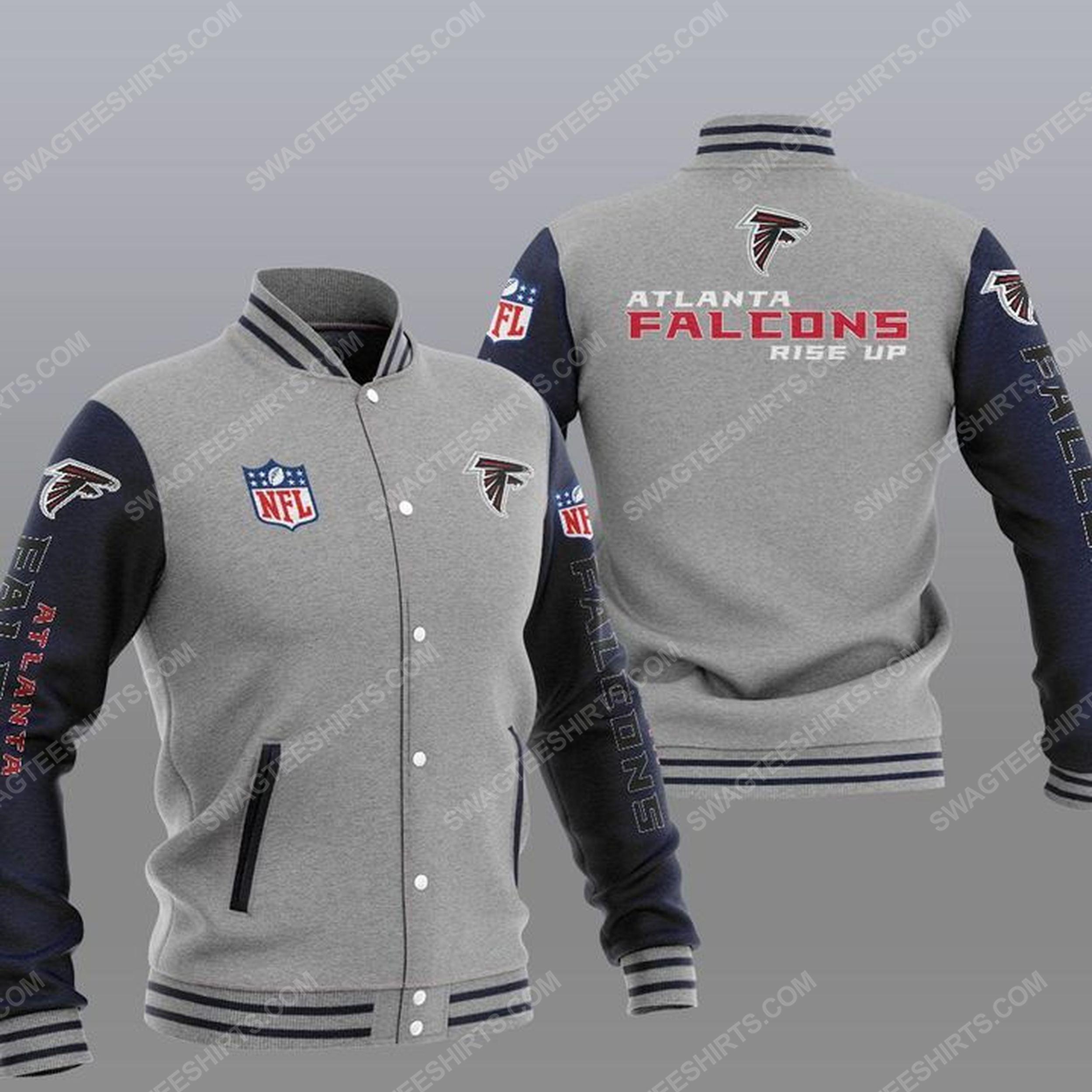 The atlanta falcons rise up all over print baseball jacket - gray 1