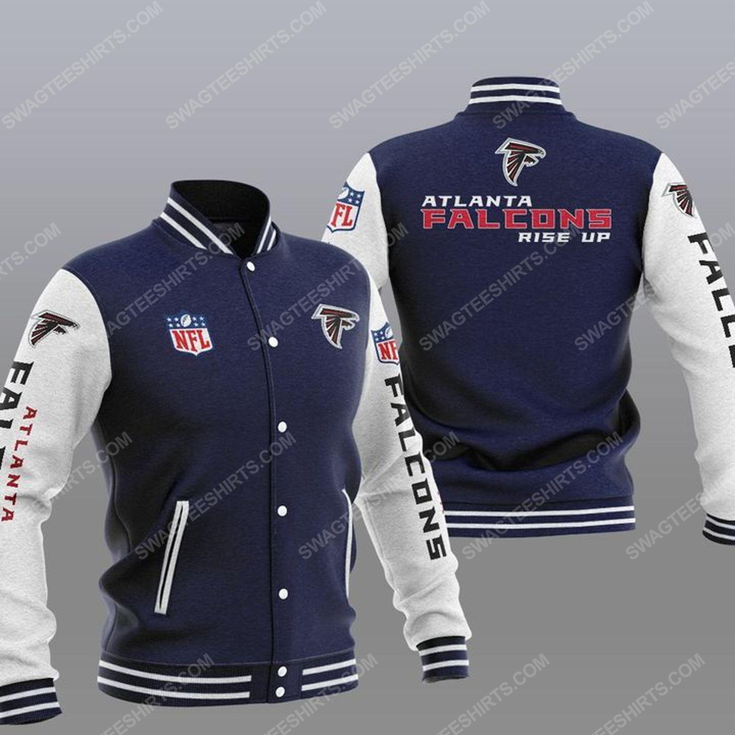 The atlanta falcons rise up all over print baseball jacket - navy 1