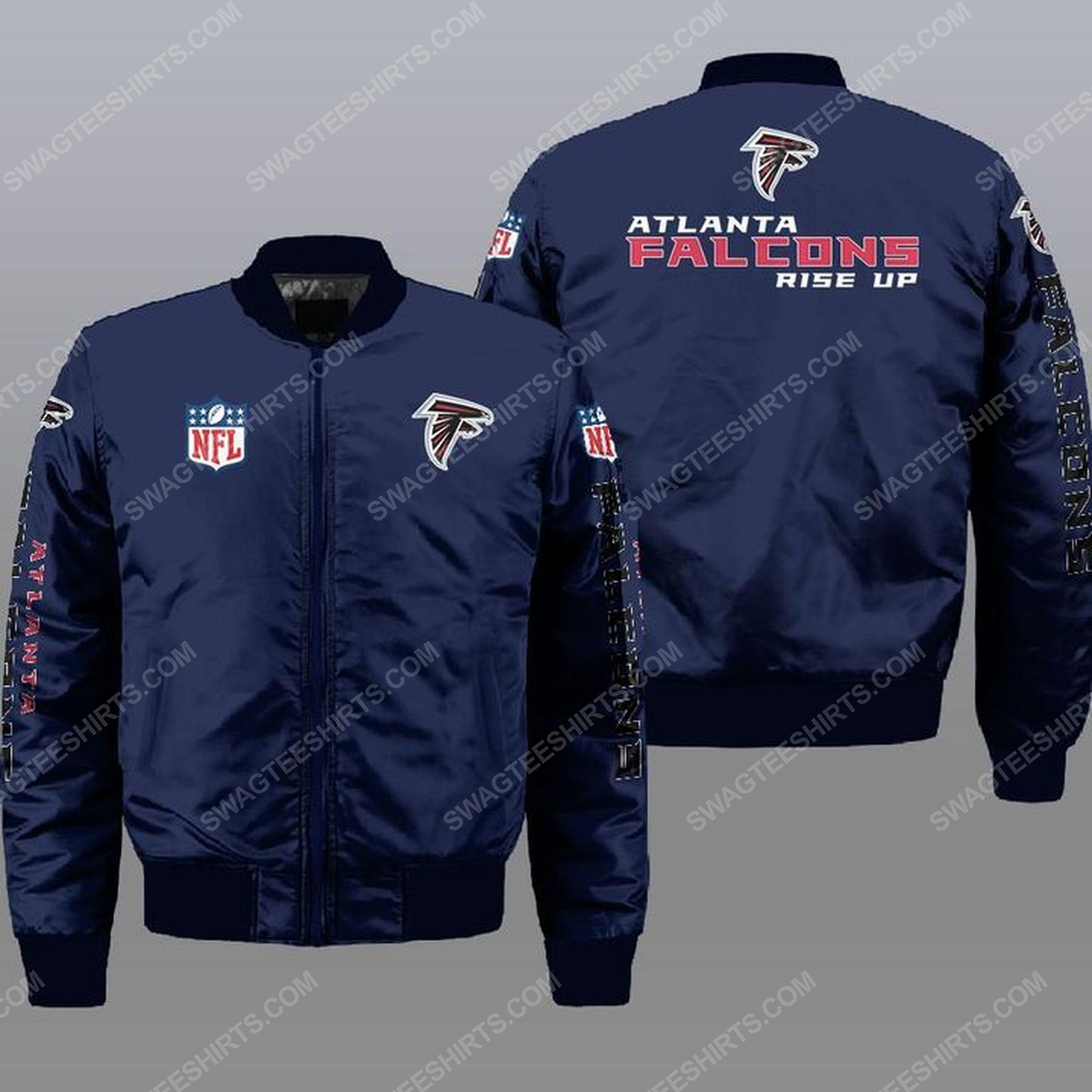 The atlanta falcons rise up all over print bomber jacket -navy 1