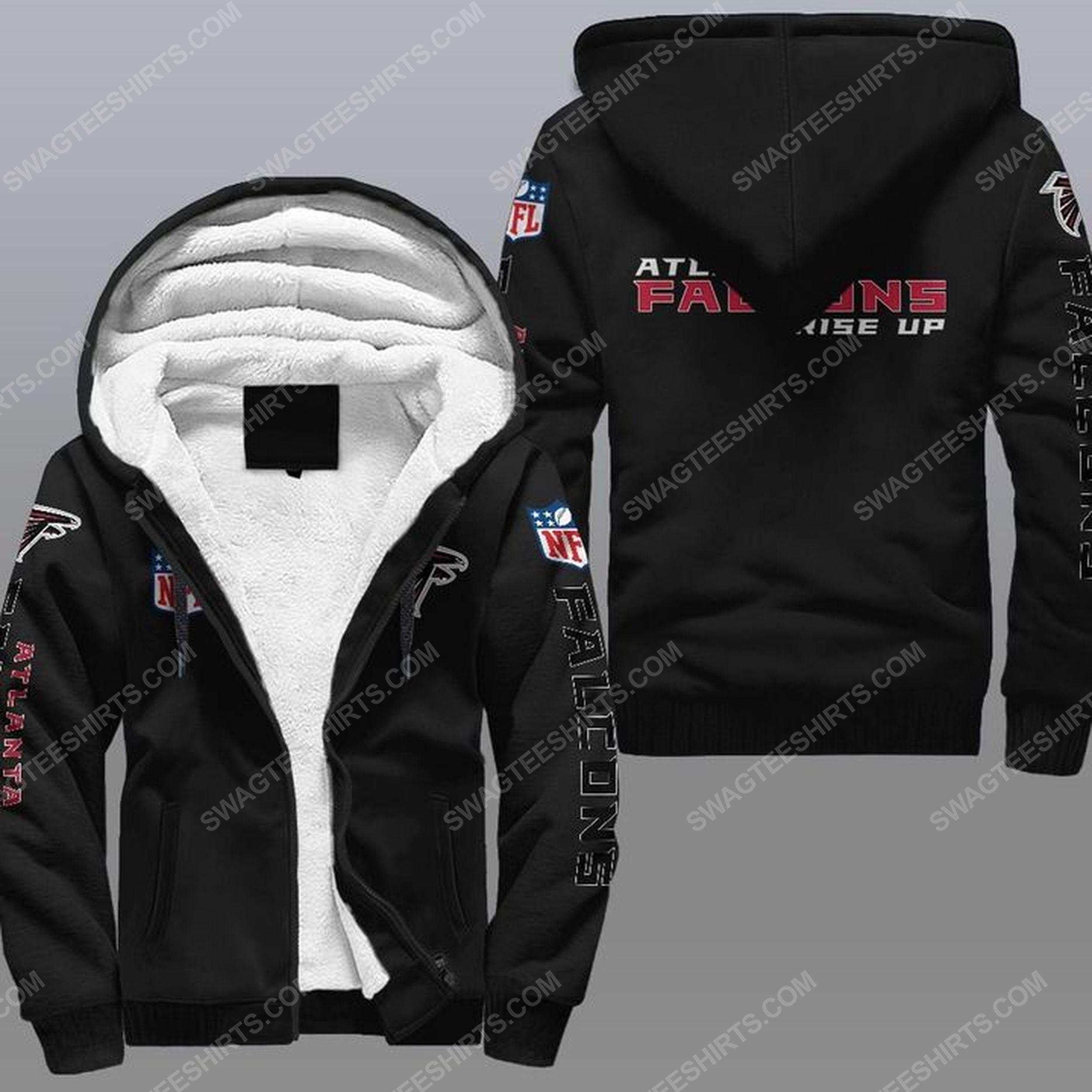 The atlanta falcons rise up all over print fleece hoodie - black 1