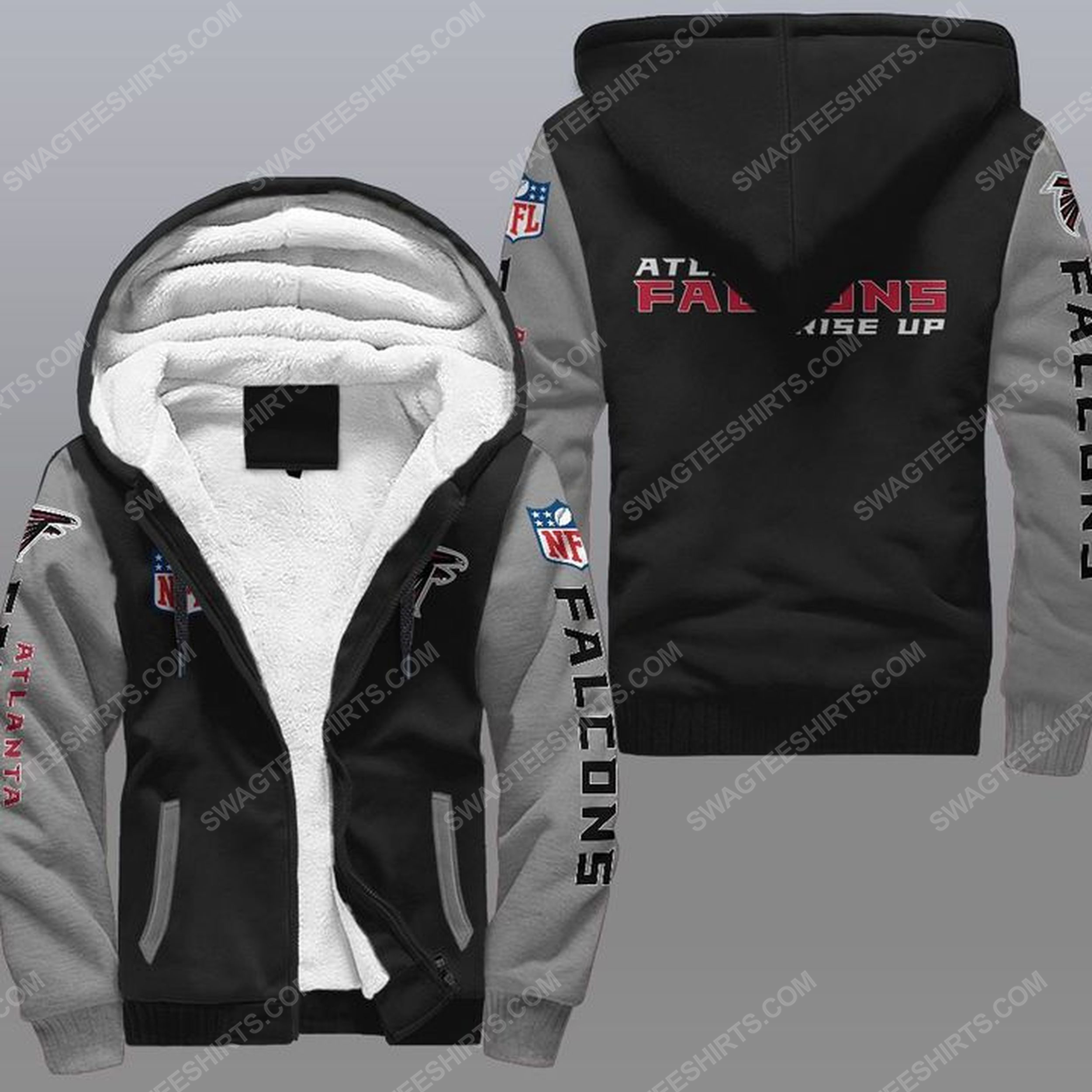The atlanta falcons rise up all over print fleece hoodie - gray 1
