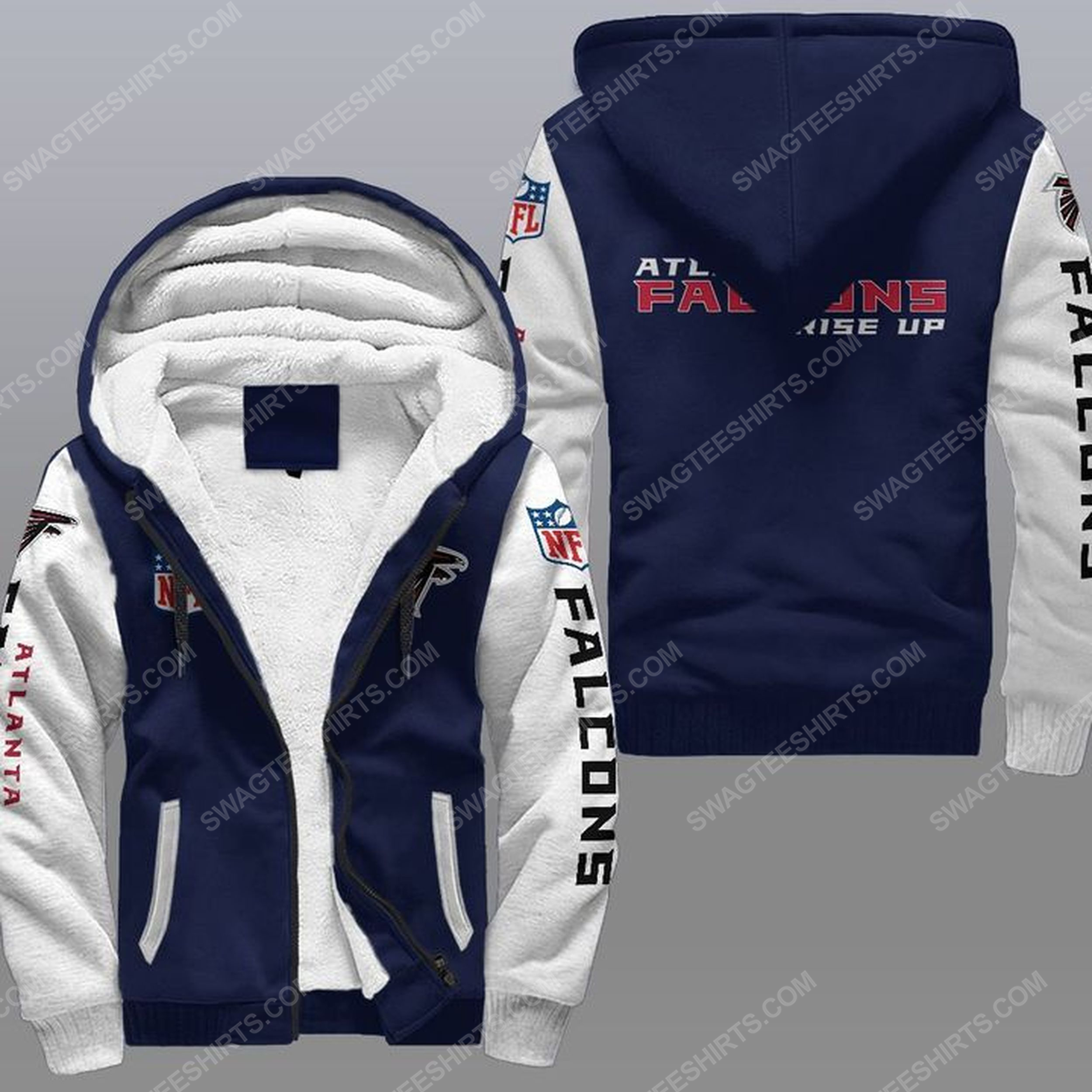 The atlanta falcons rise up all over print fleece hoodie - navy 1