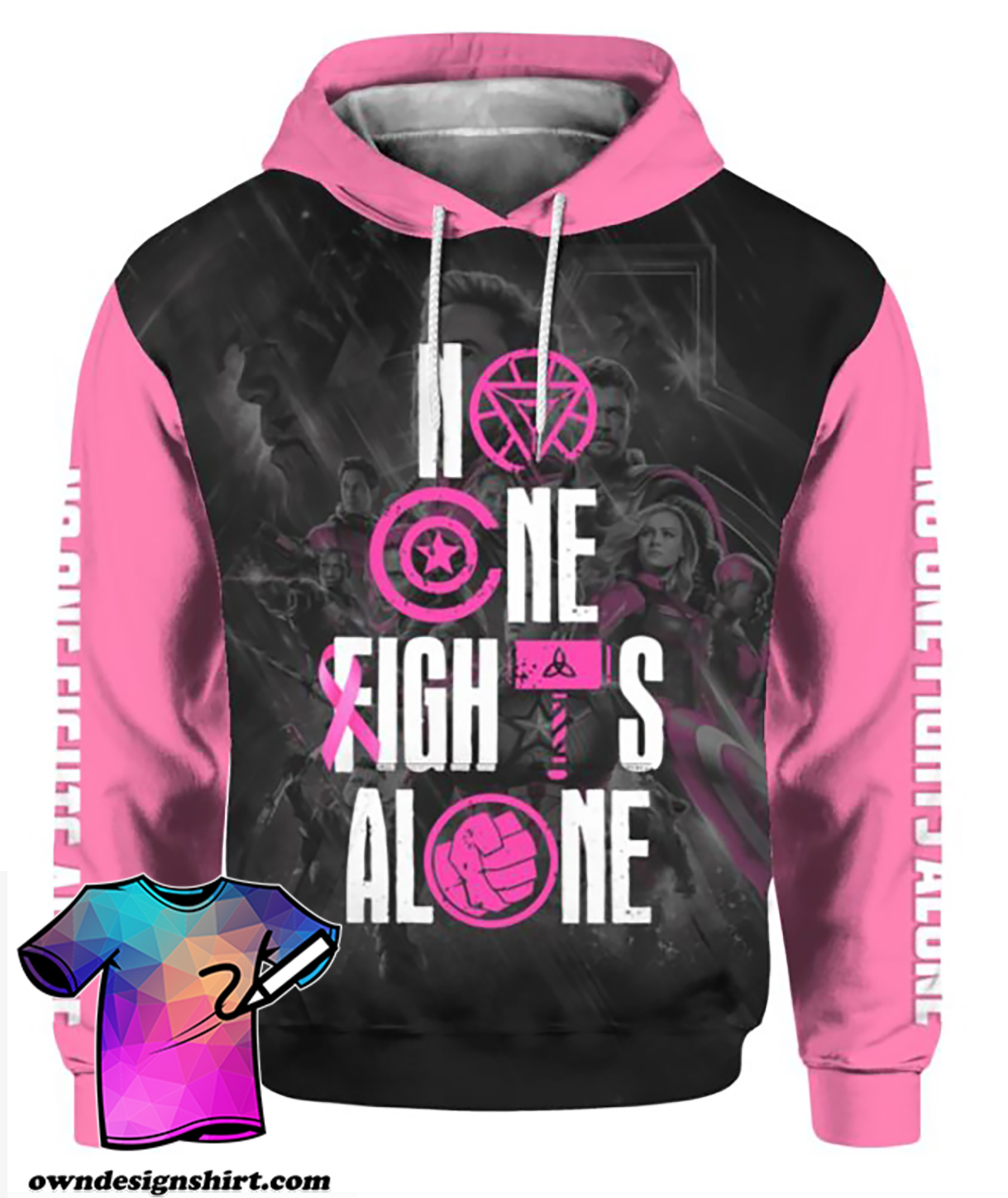 The avengers no one fights alone breast cancer awareness all over printed hoodie