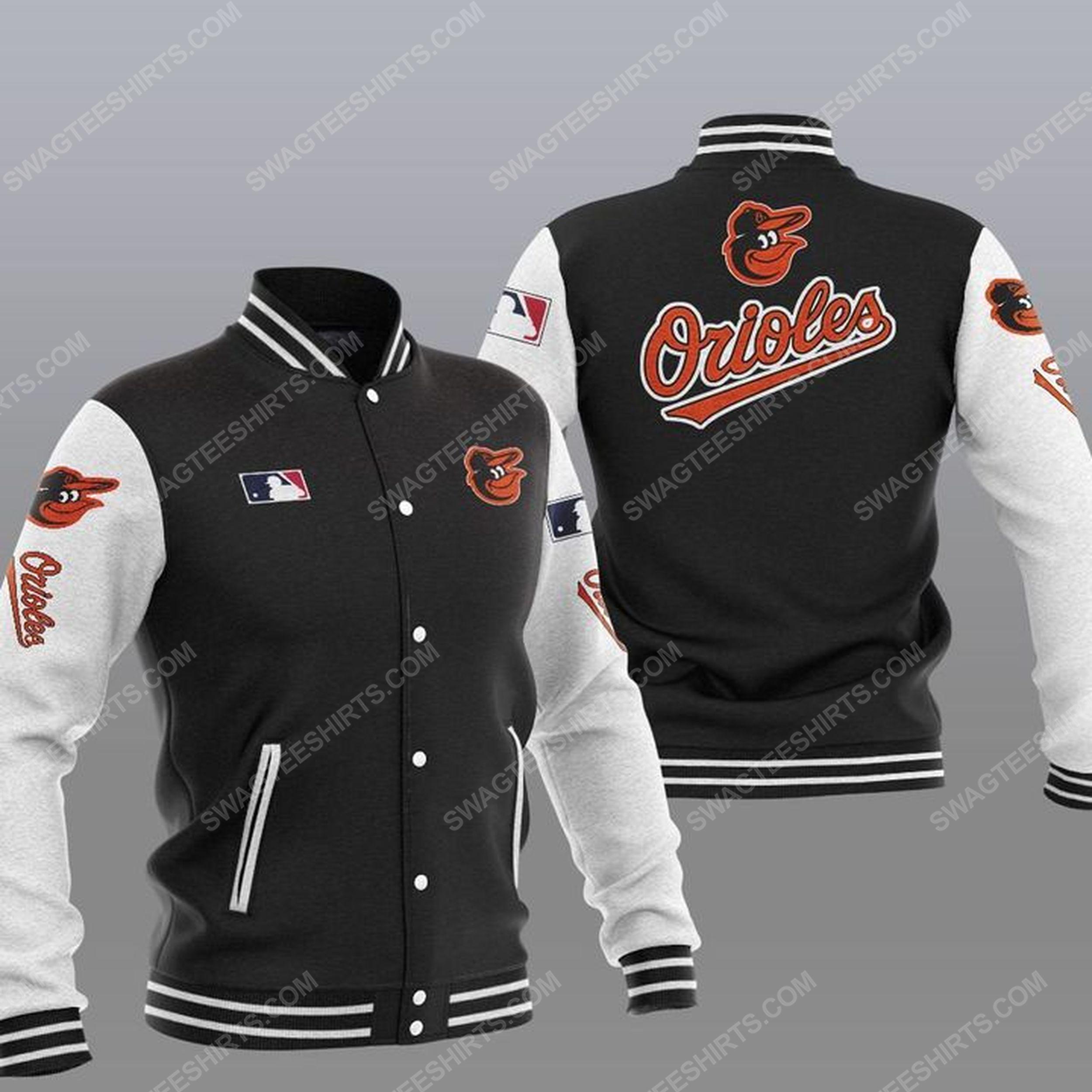 The baltimore orioles mlb all over print baseball jacket - black 1