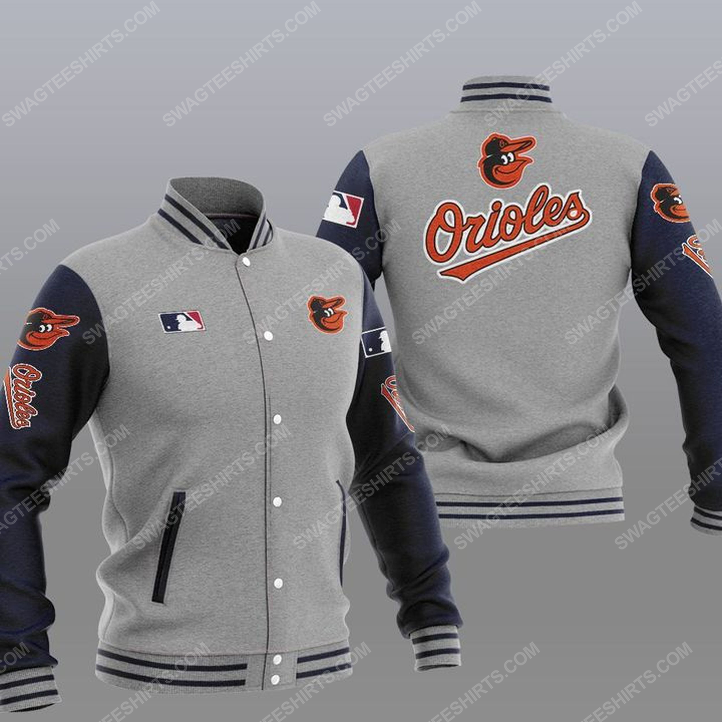 The baltimore orioles mlb all over print baseball jacket - gray 1