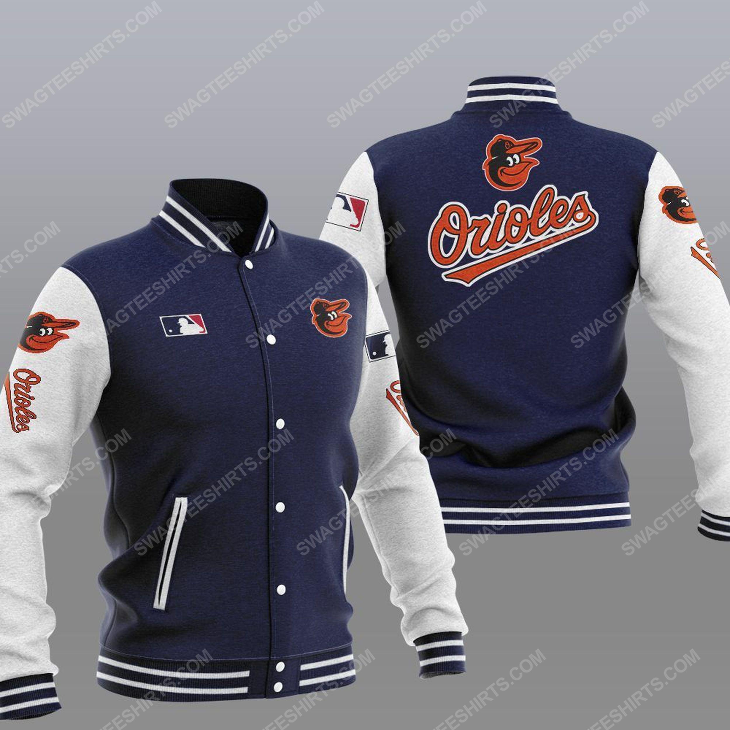 The baltimore orioles mlb all over print baseball jacket - navy 1