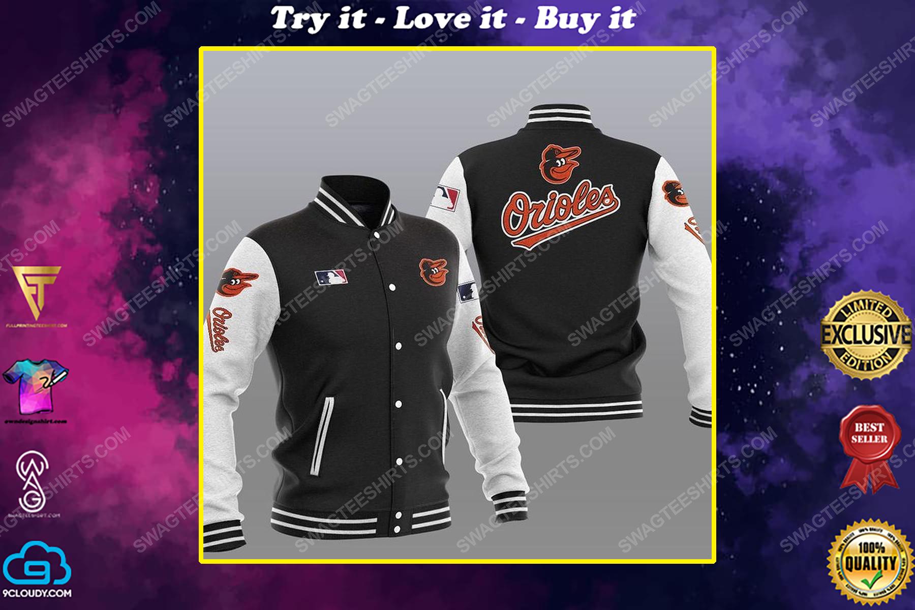 The baltimore orioles mlb all over print baseball jacket