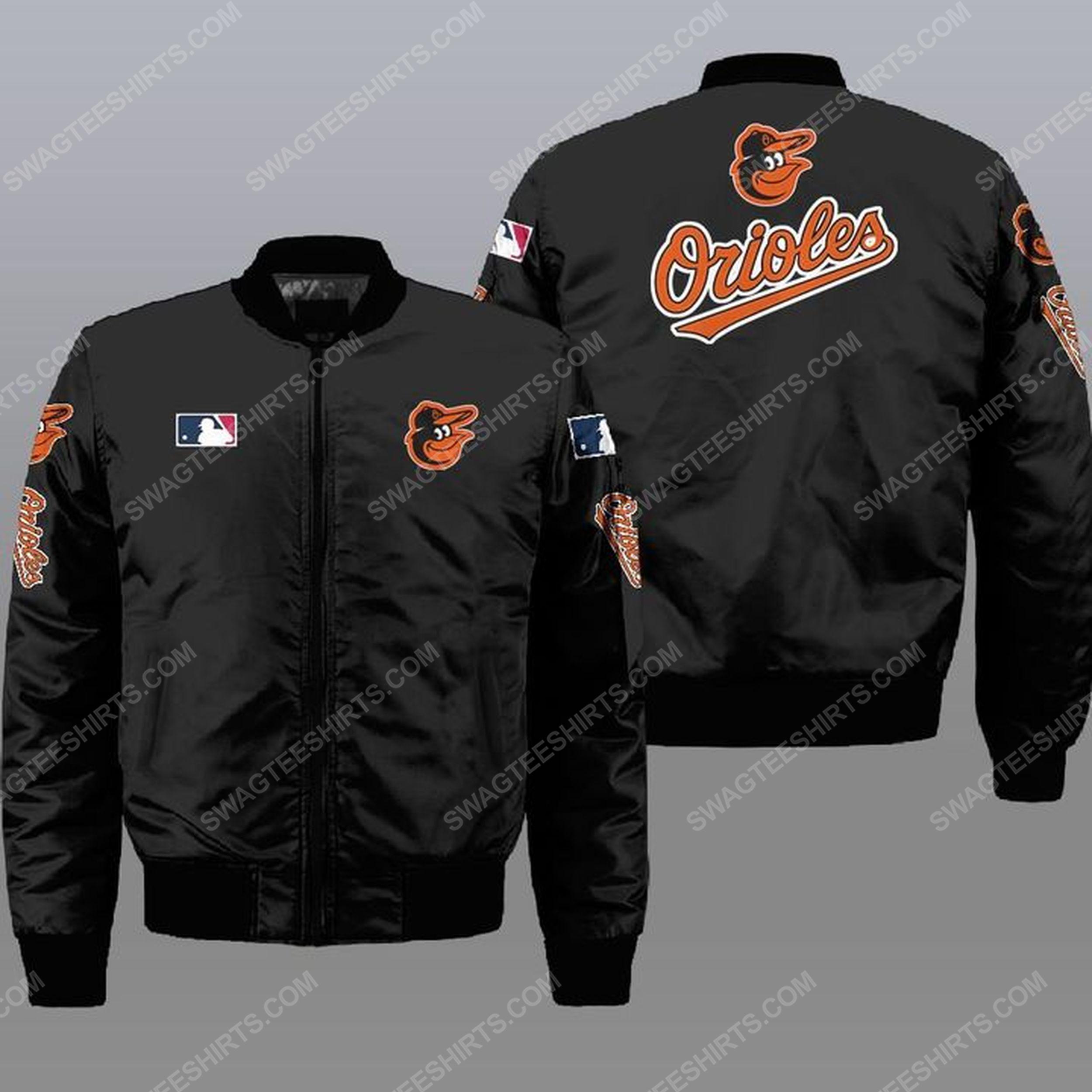 The baltimore orioles mlb all over print bomber jacket - black 1