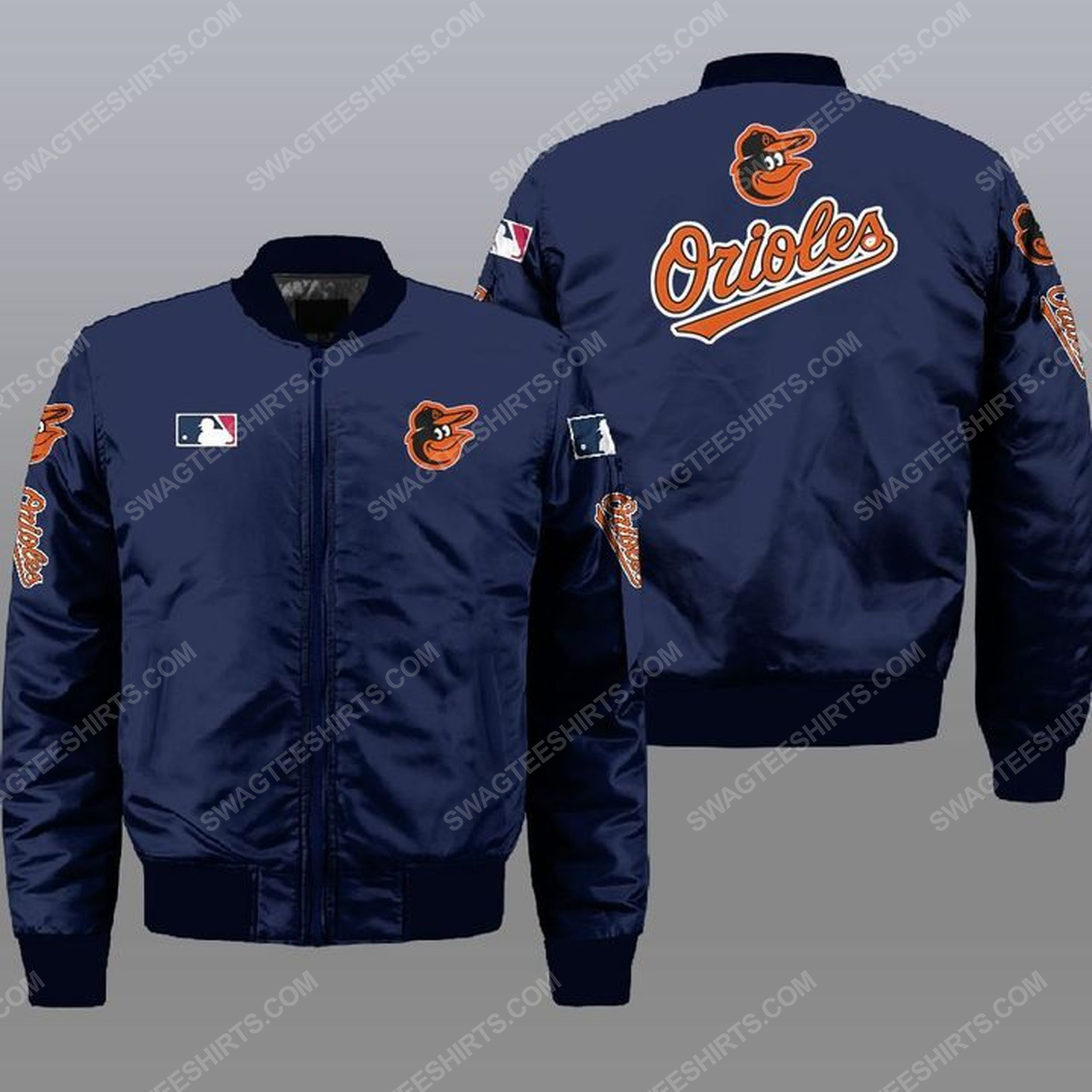 The baltimore orioles mlb all over print bomber jacket -navy 1