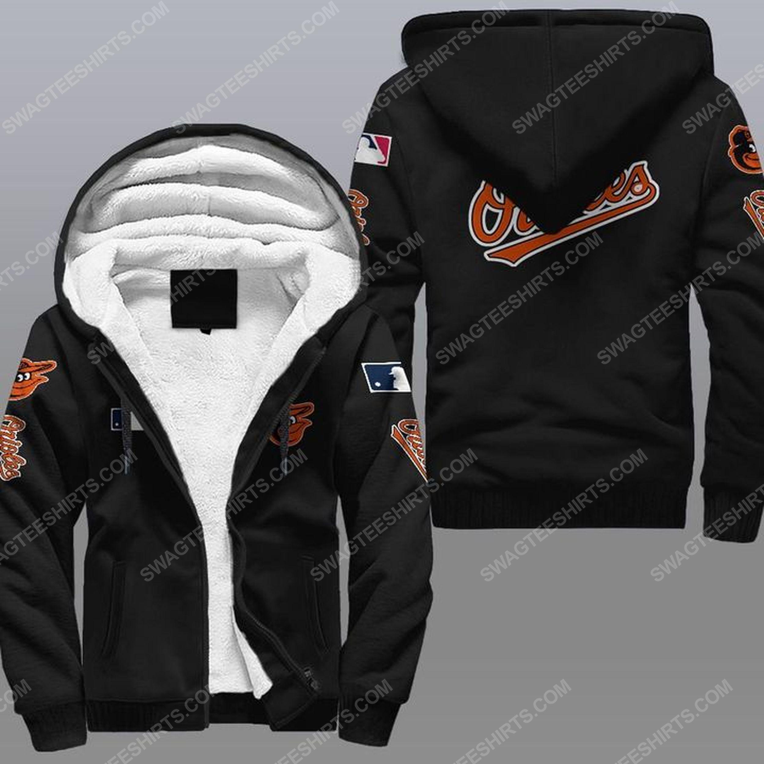 The baltimore orioles mlb all over print fleece hoodie - black 1