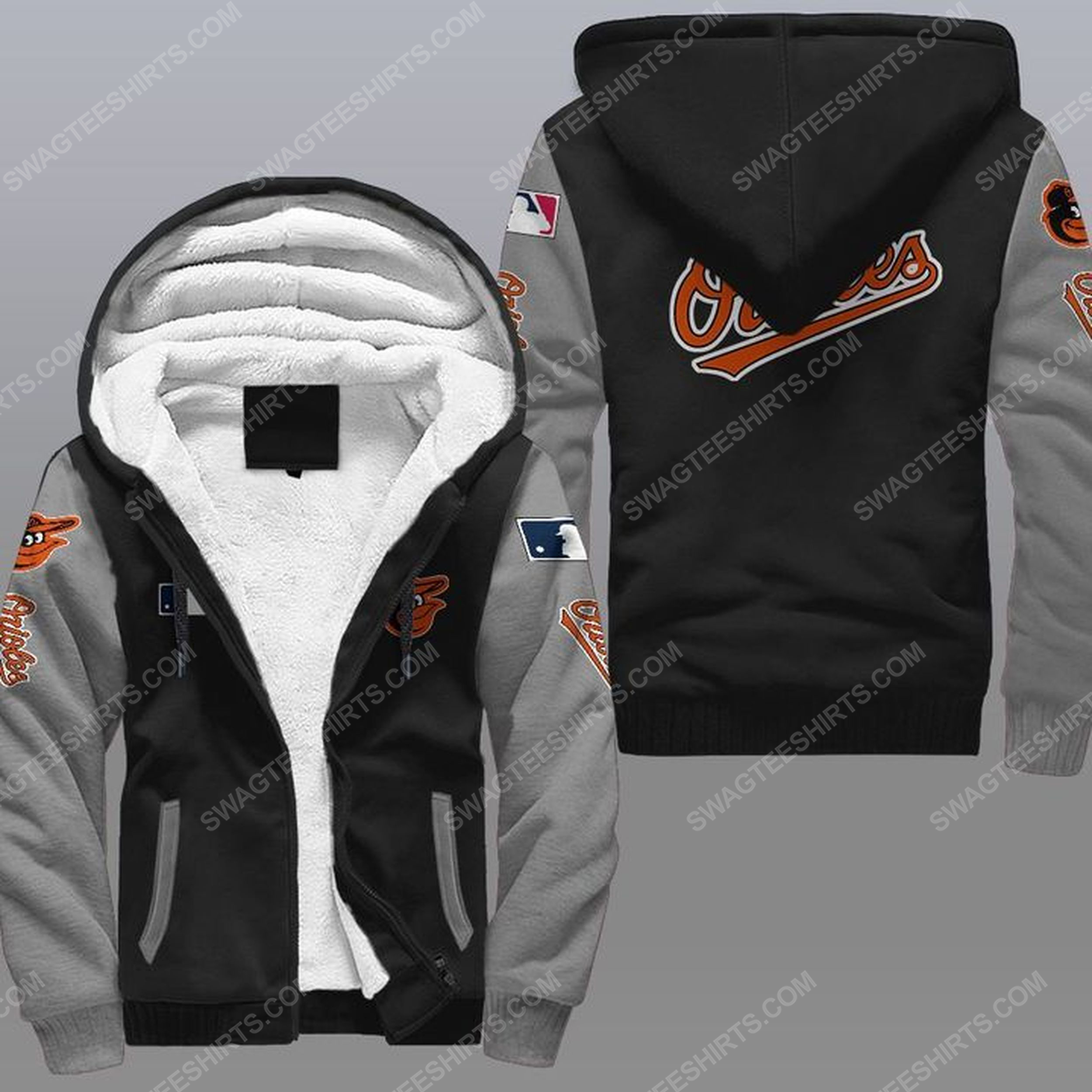 The baltimore orioles mlb all over print fleece hoodie - gray 1