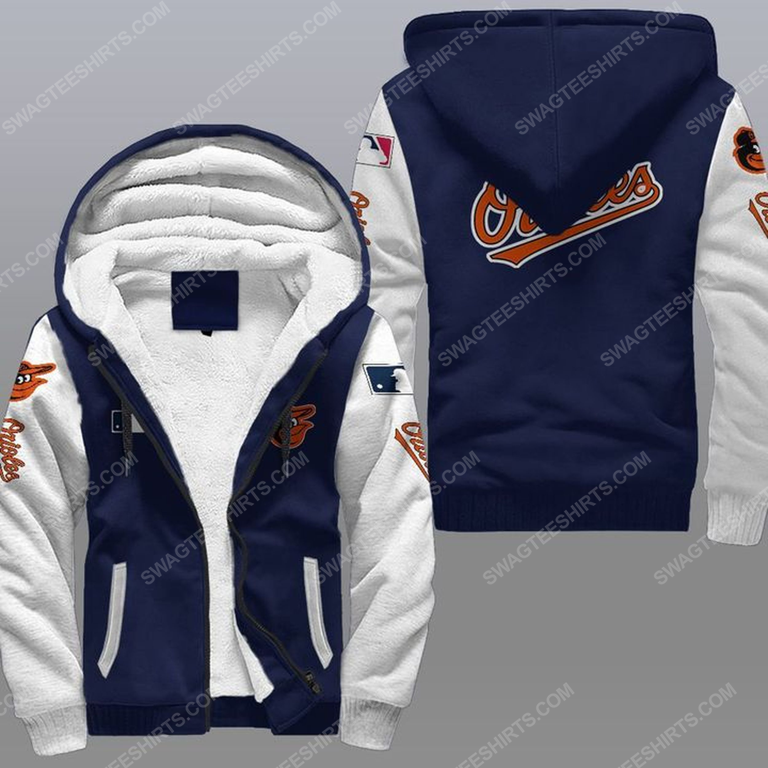 The baltimore orioles mlb all over print fleece hoodie - navy 1