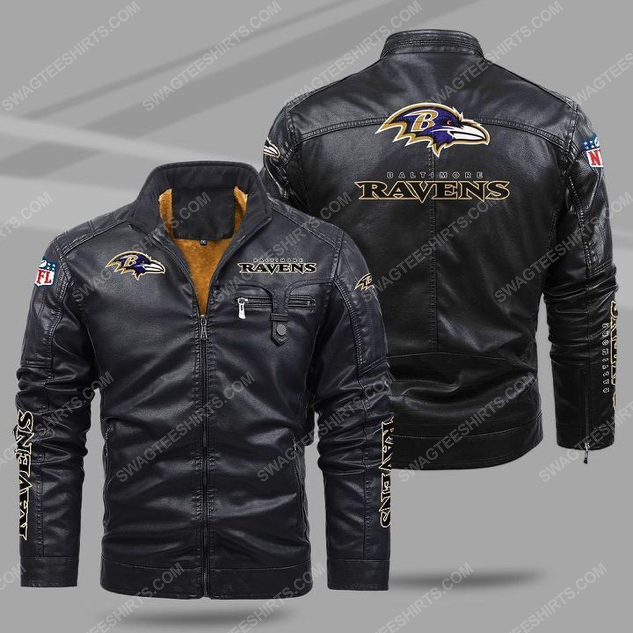 The baltimore ravens nfl all over print fleece leather jacket - black 1 - Copy