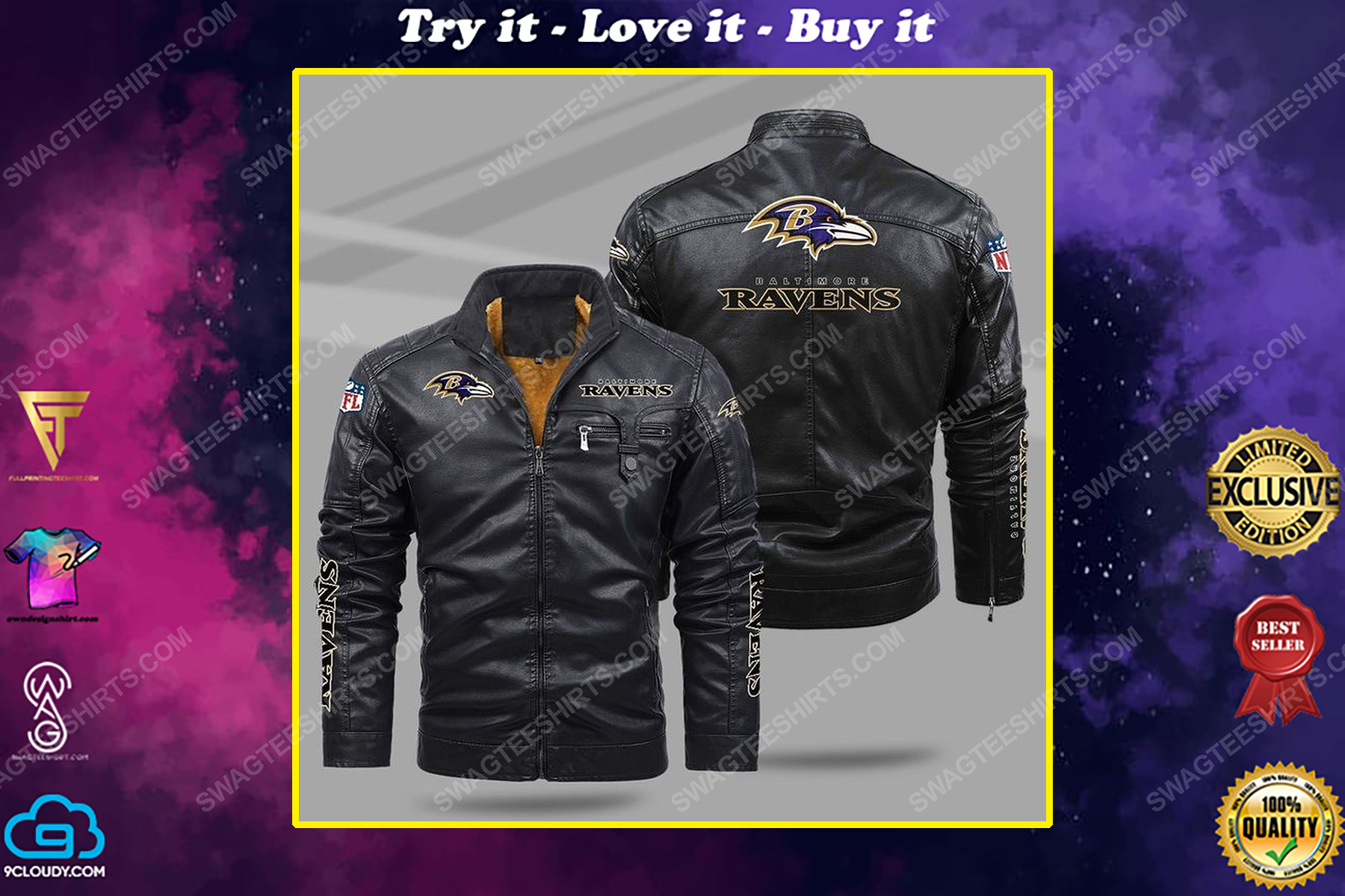 The baltimore ravens nfl all over print fleece leather jacket