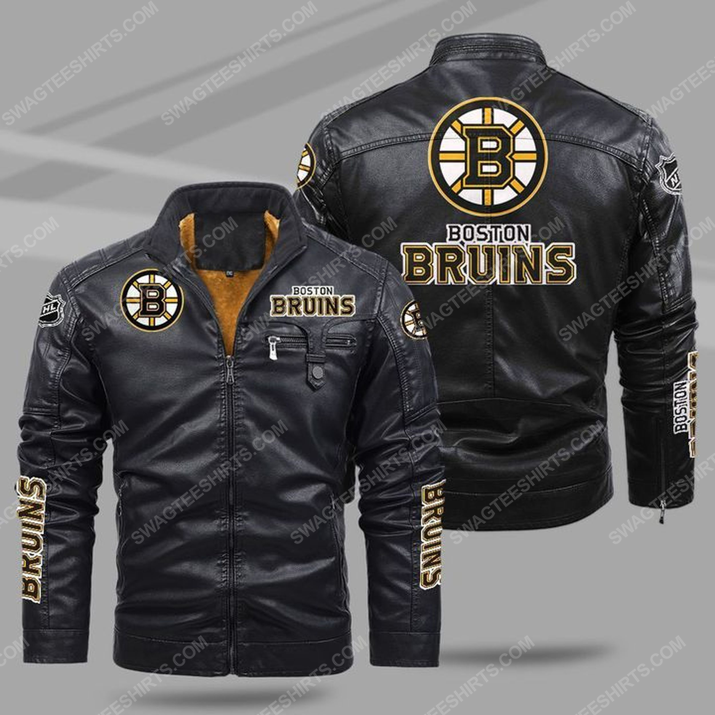 The boston bruins nhl all over print fleece leather jacket - black 1 - Copy