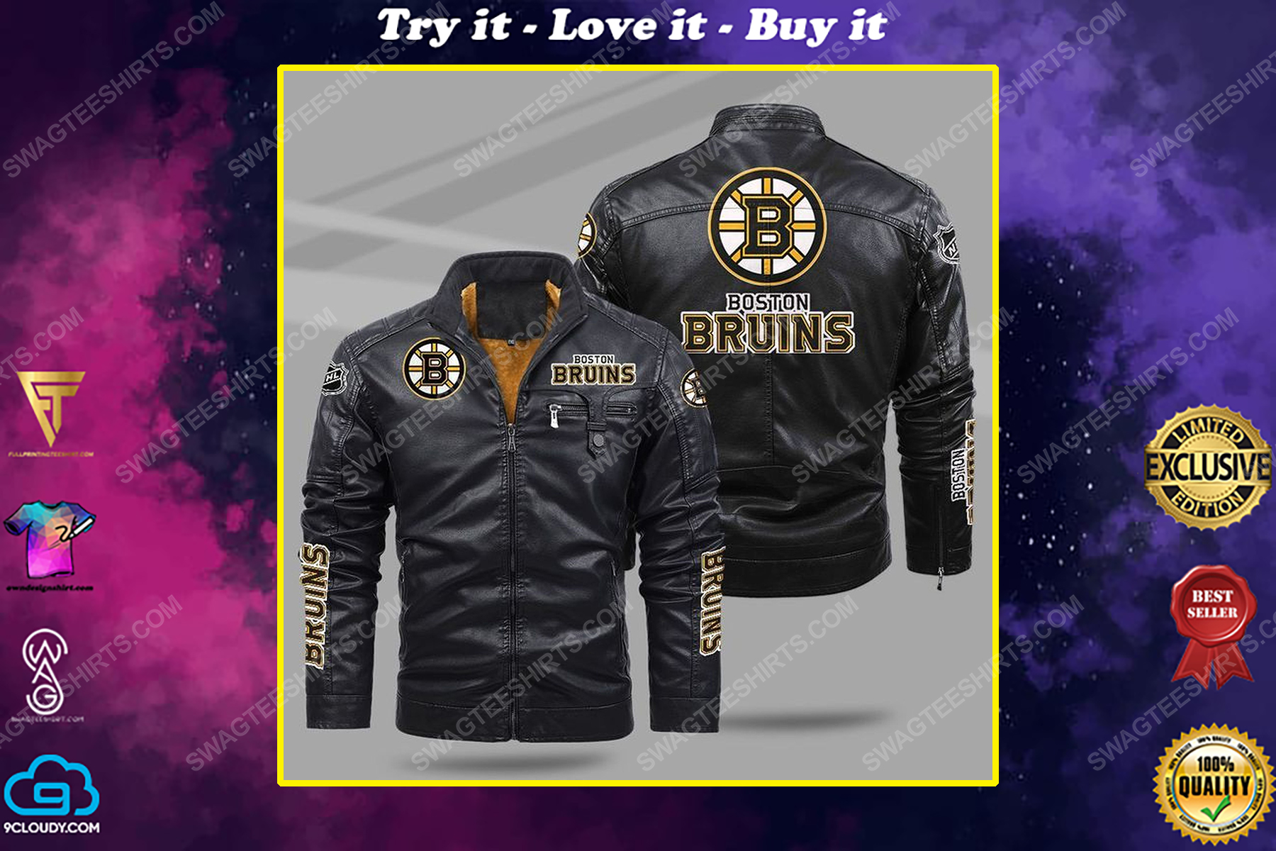 The boston bruins nhl all over print fleece leather jacket