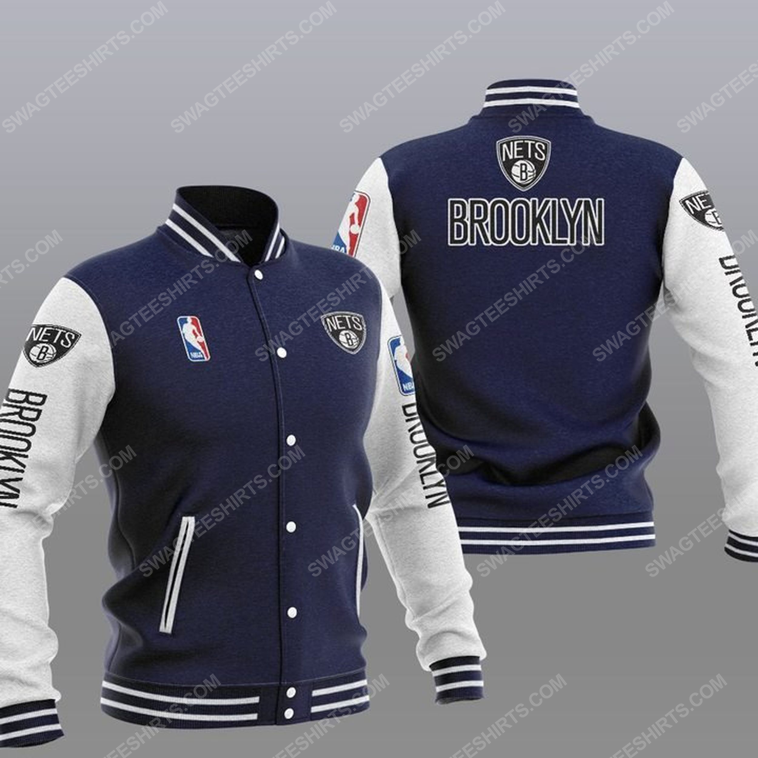 The brooklyn nets nba all over print baseball jacket - navy 1