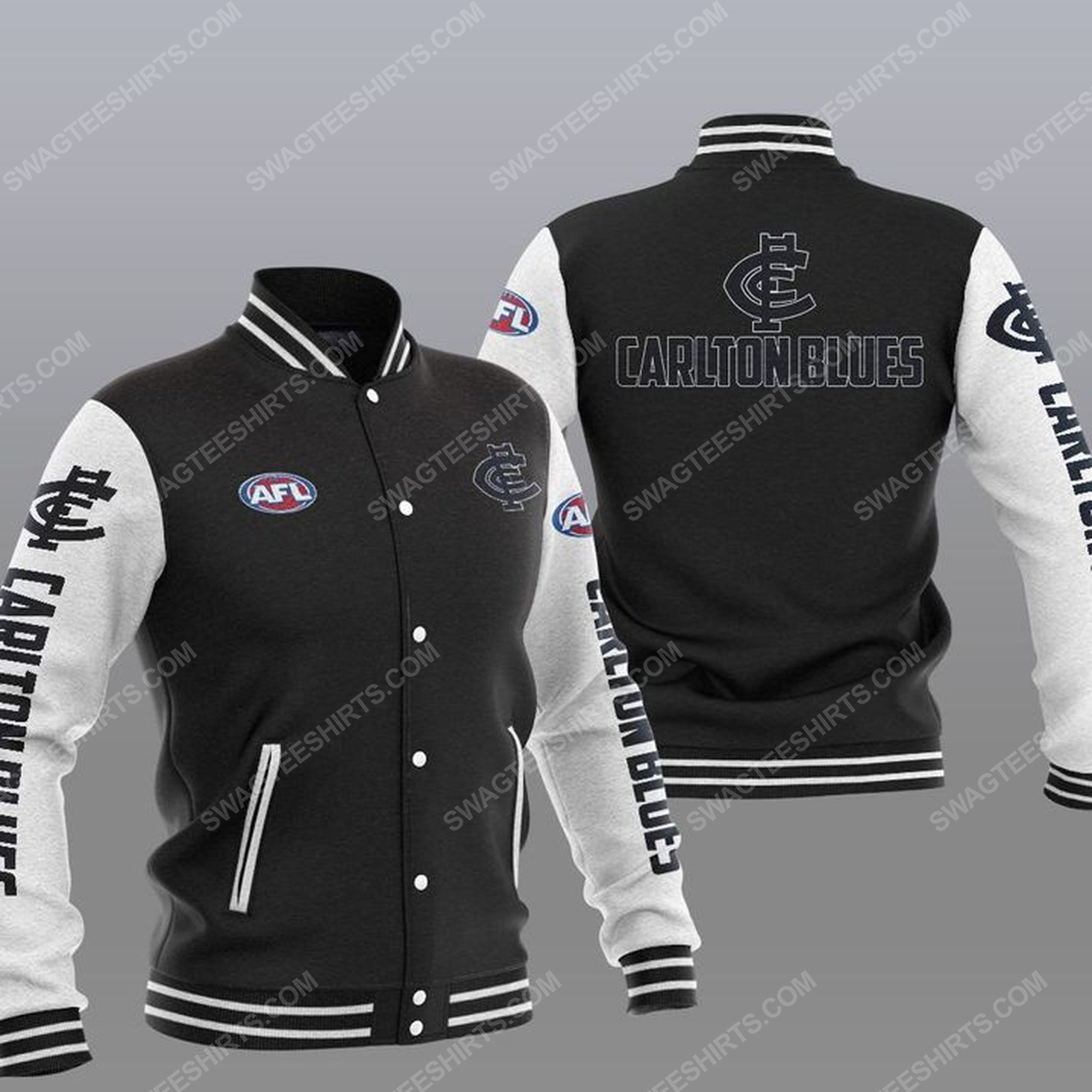 The carlton football club all over print baseball jacket - black 1