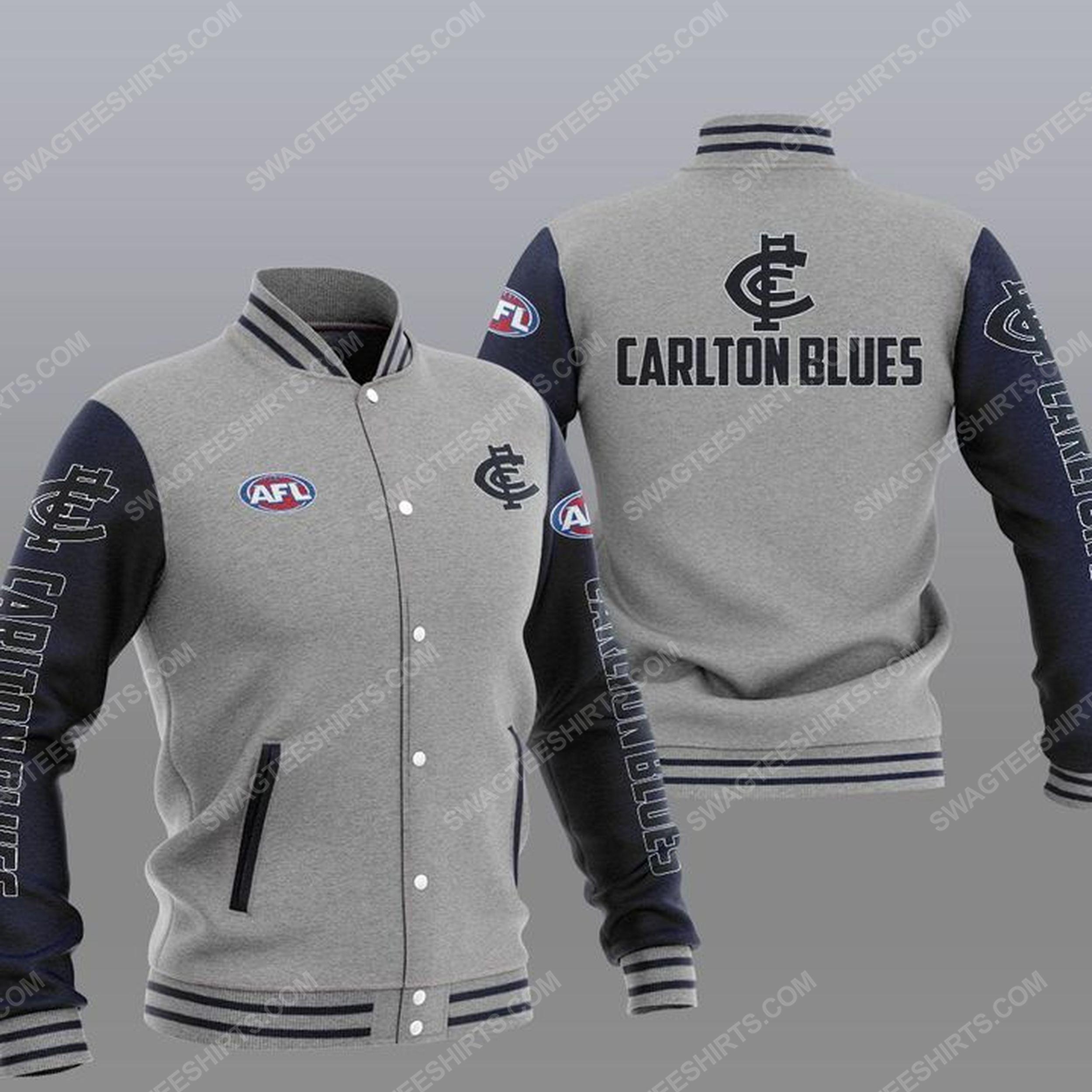 The carlton football club all over print baseball jacket - gray 1