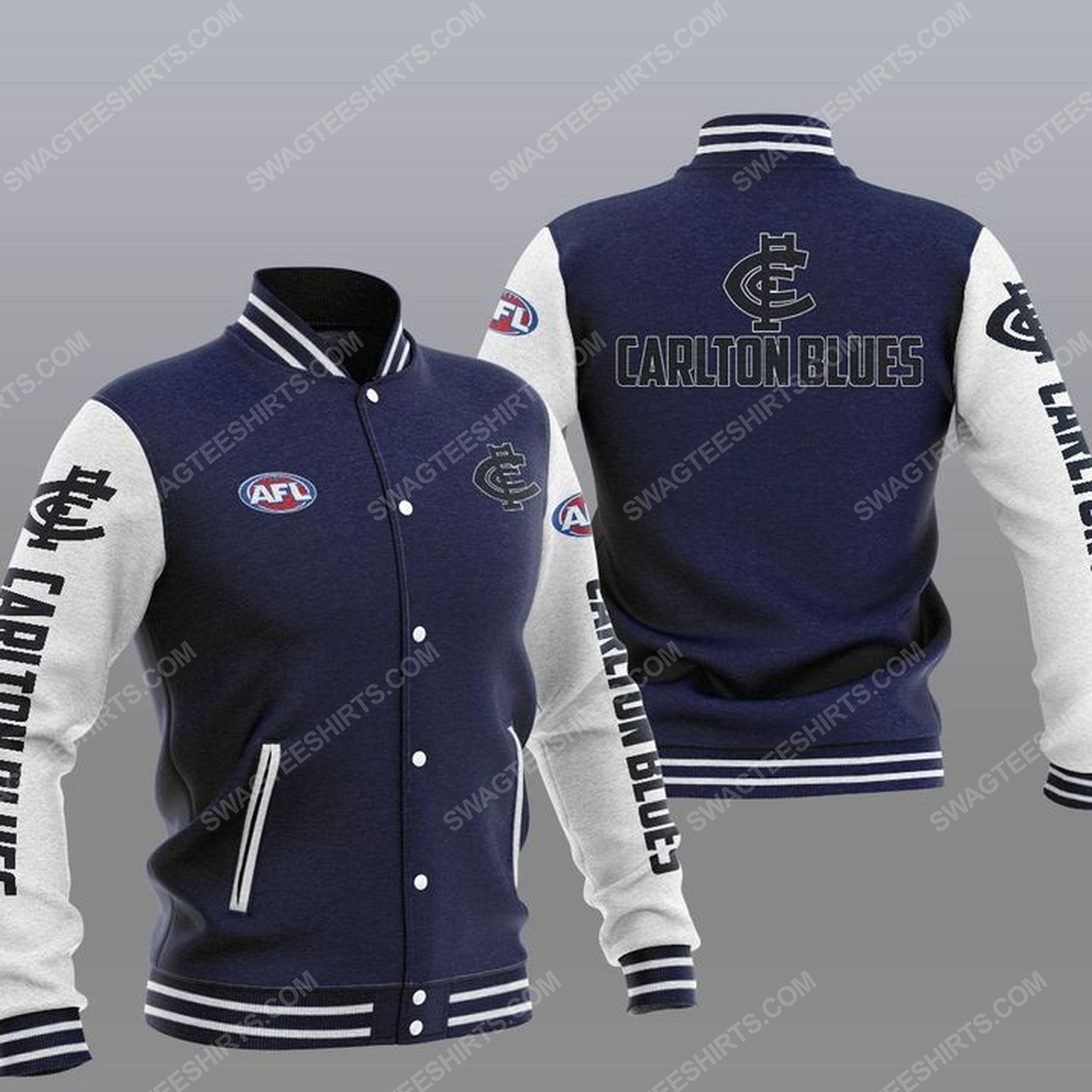 The carlton football club all over print baseball jacket - navy 1
