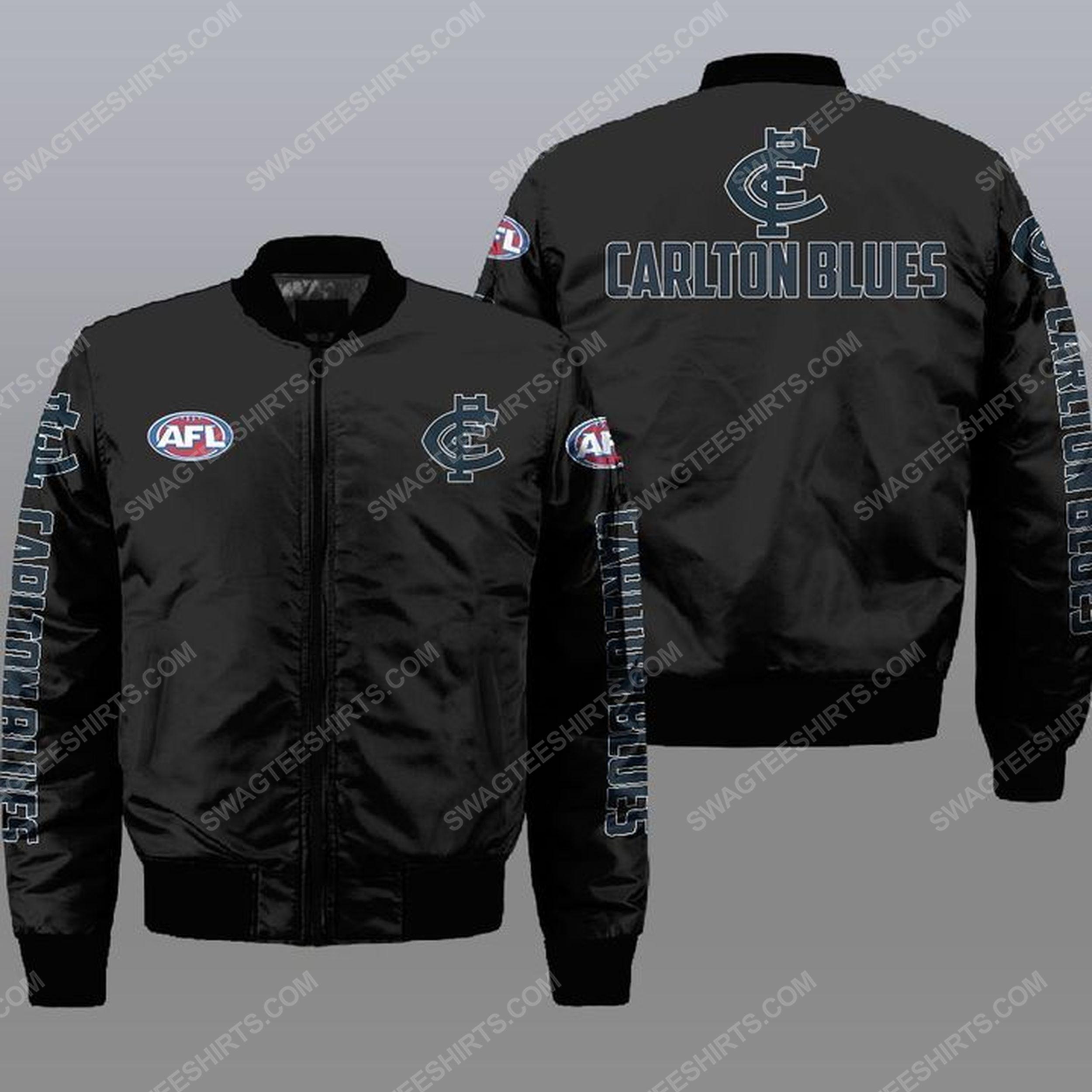 The carlton football club all over print bomber jacket - black 1