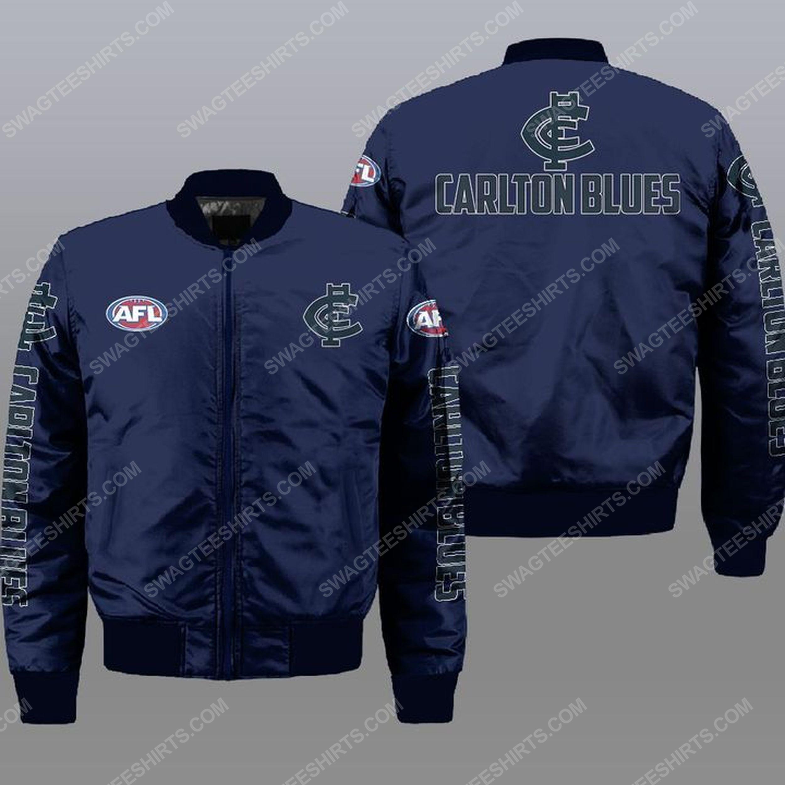 The carlton football club all over print bomber jacket -navy 1