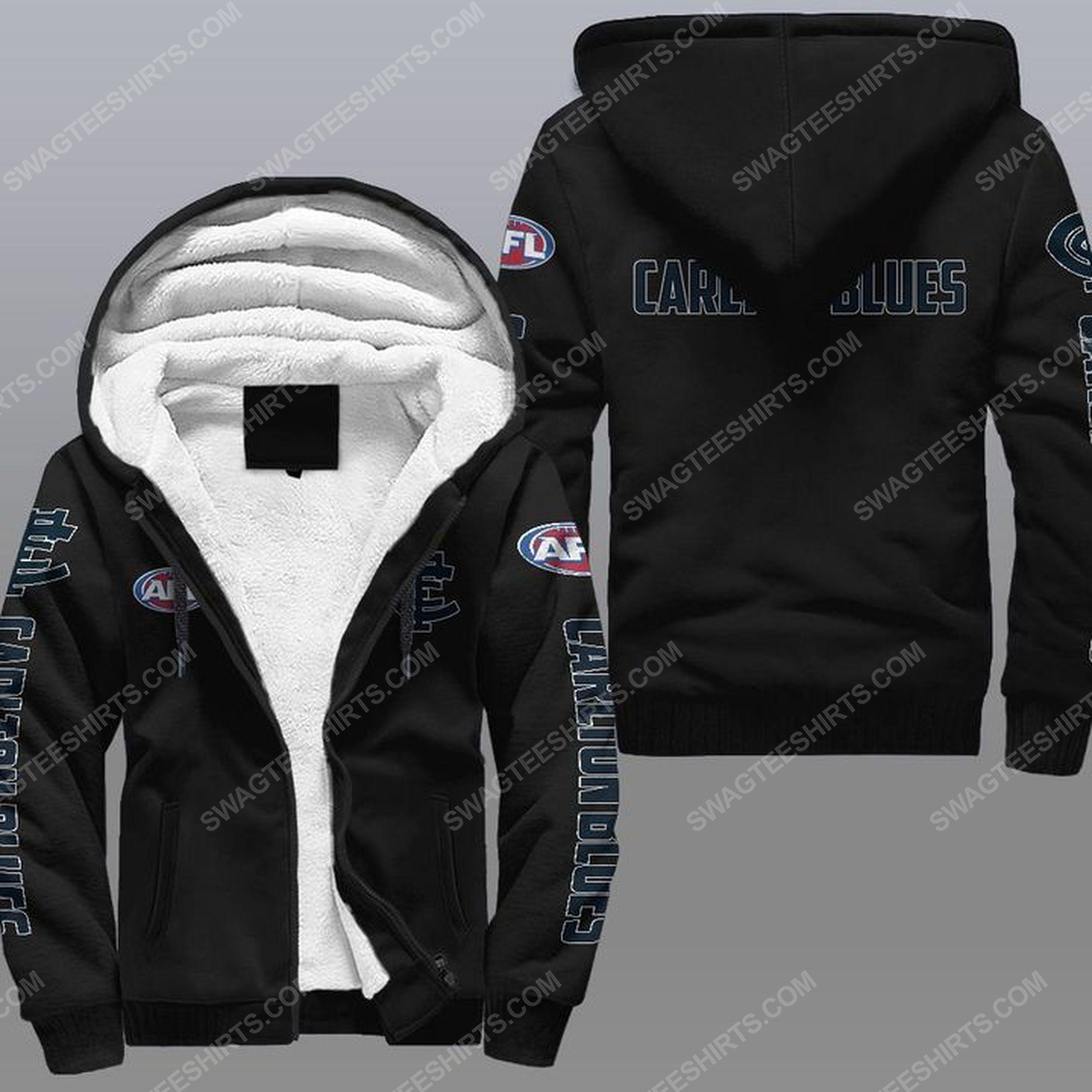 The carlton football club all over print fleece hoodie - black 1