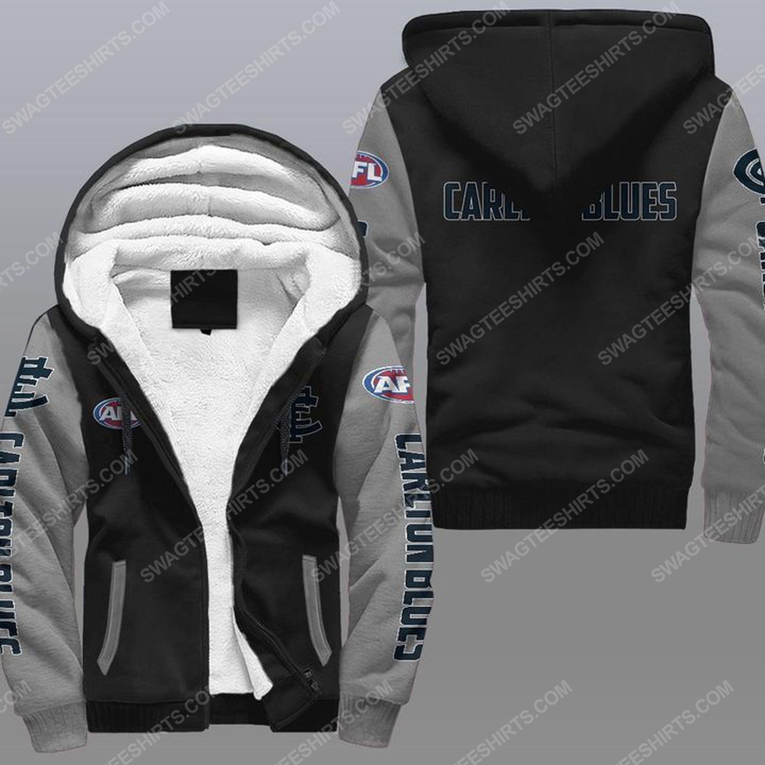 The carlton football club all over print fleece hoodie - gray 1