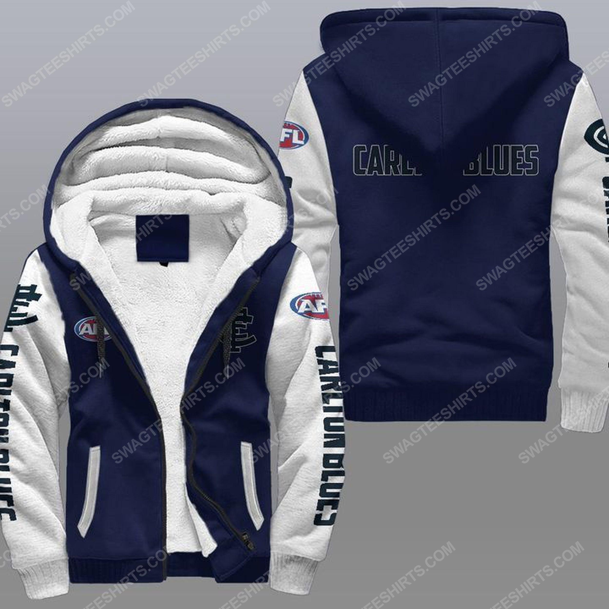 The carlton football club all over print fleece hoodie - navy 1