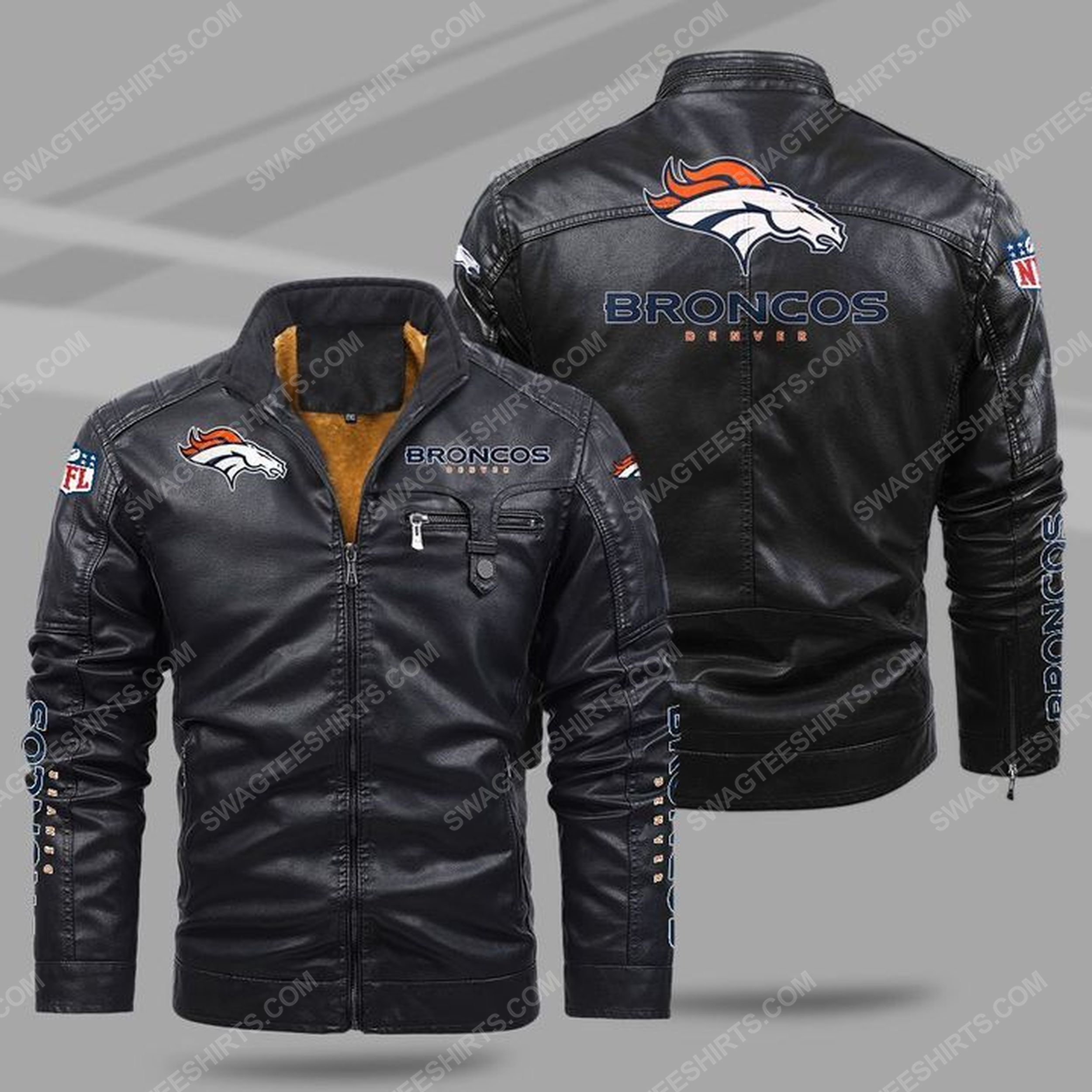 The denver broncos nfl all over print fleece leather jacket - black 1 - Copy