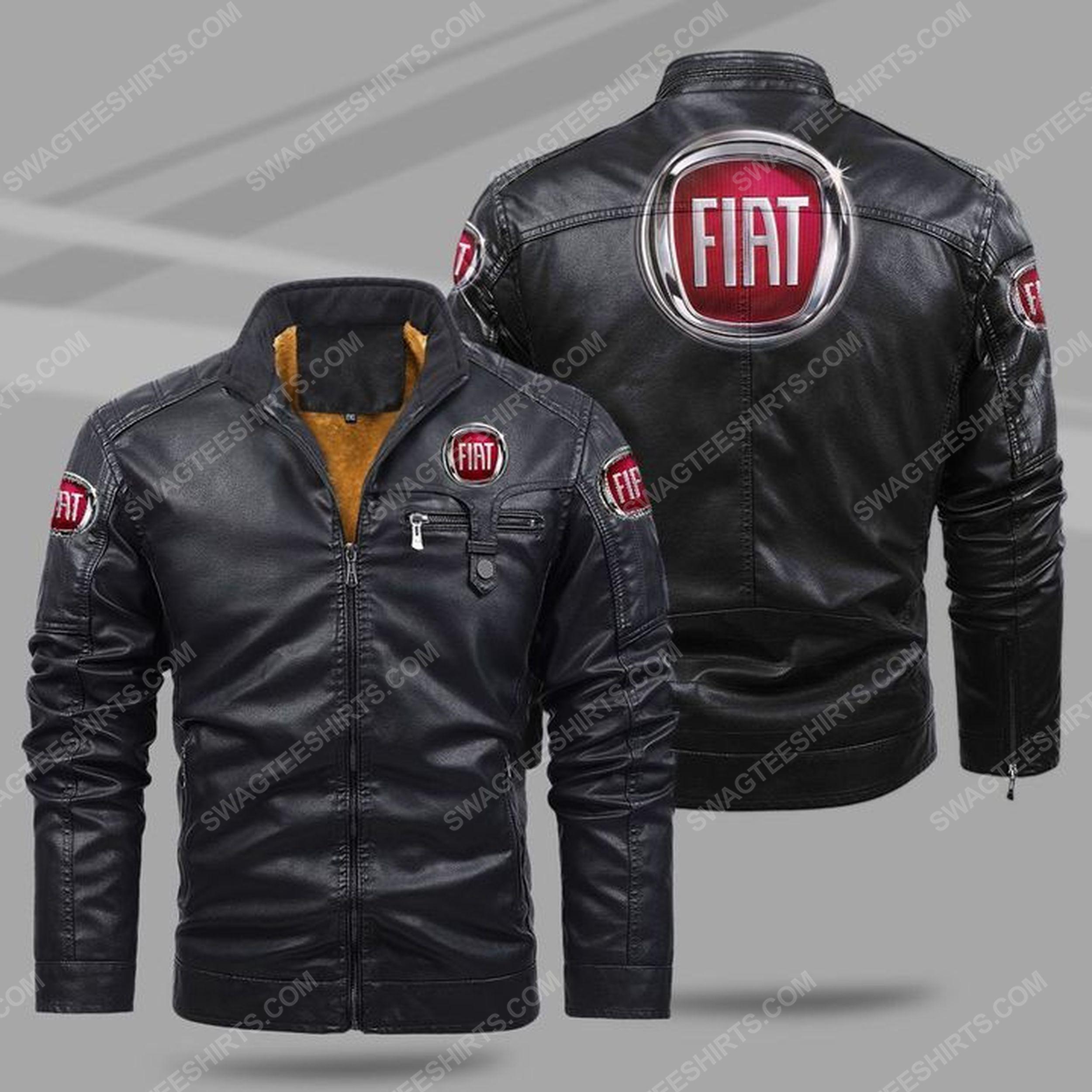 The fiat car all over print fleece leather jacket - black 1 - Copy