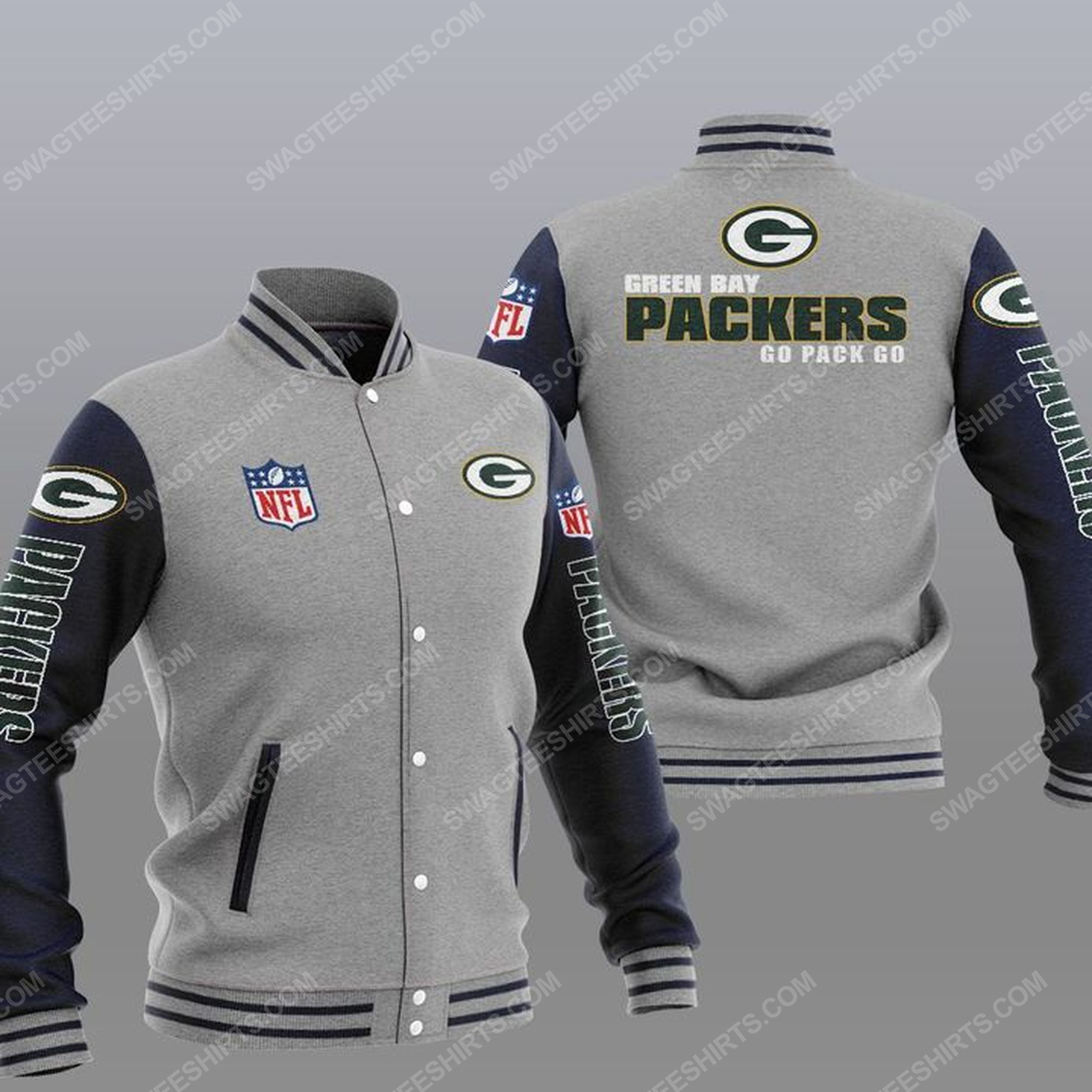 The green bay packers nfl all over print baseball jacket - gray 1
