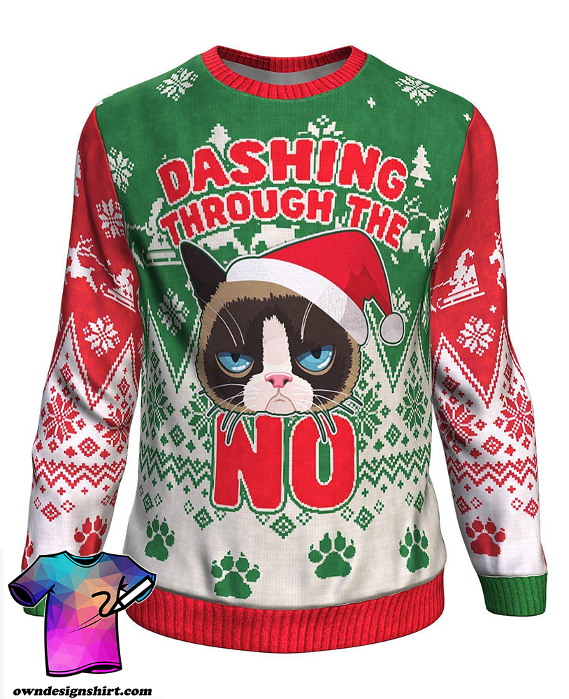 The grumpy cat dashing through the no all over print sweater